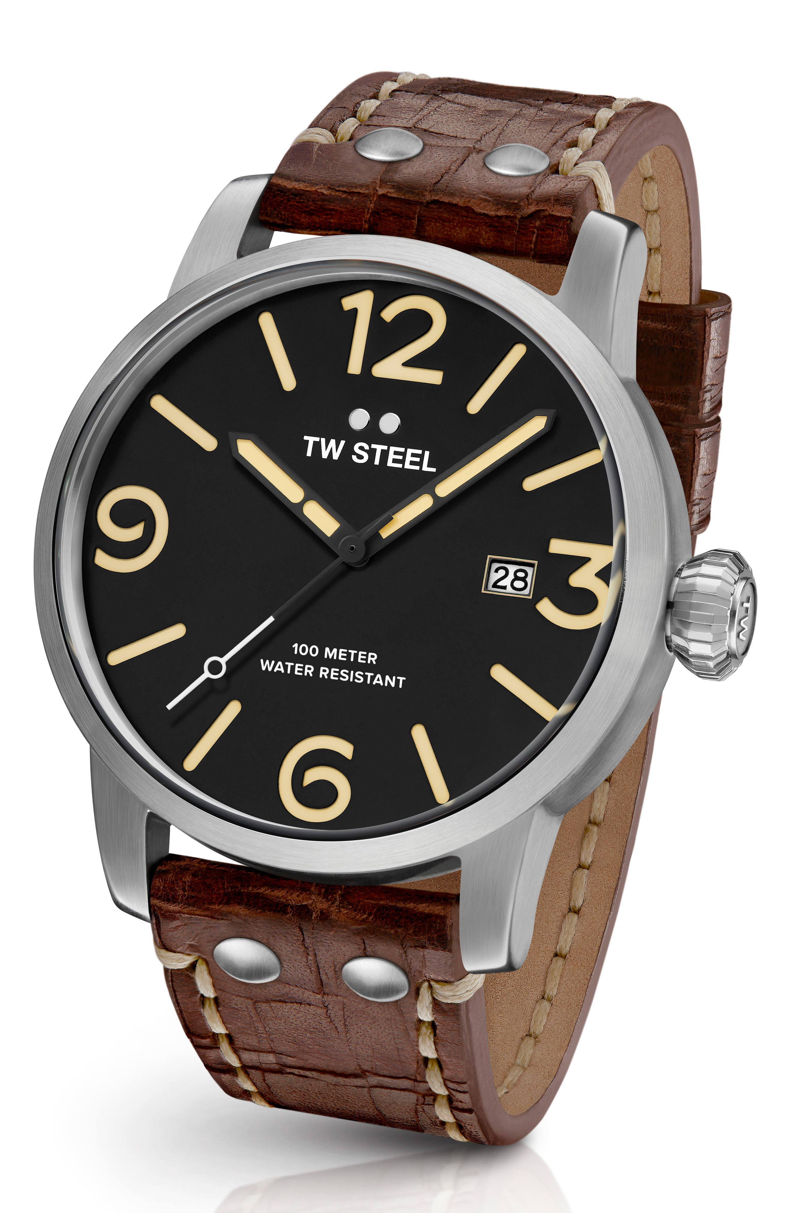 Maverick Leather Strap Watch, 48mm,                         Main,                         color, WALNUT/ BLACK/ SILVER