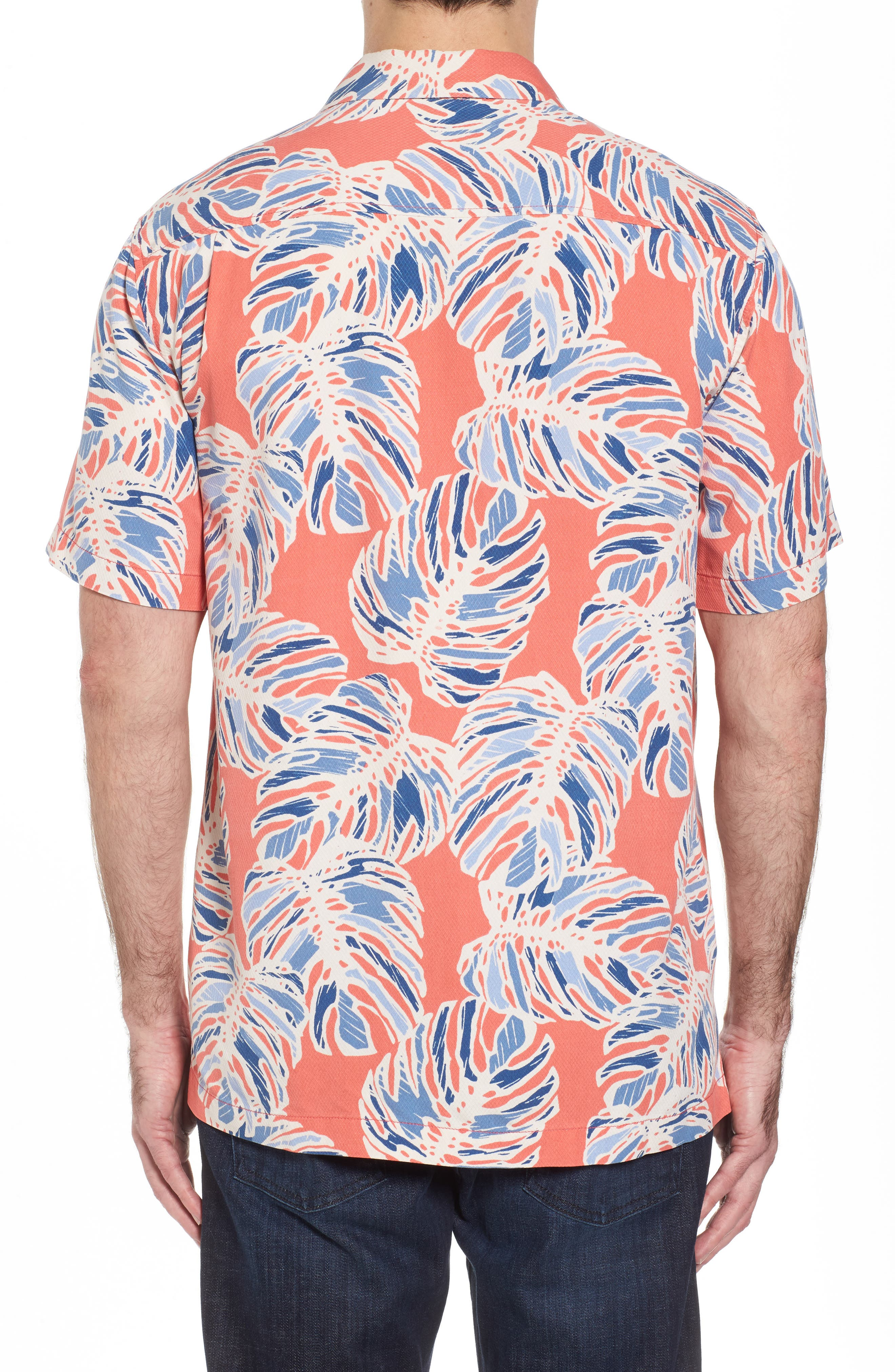 Leaf It to Chance Silk Camp Shirt,                             Alternate thumbnail 2, color,