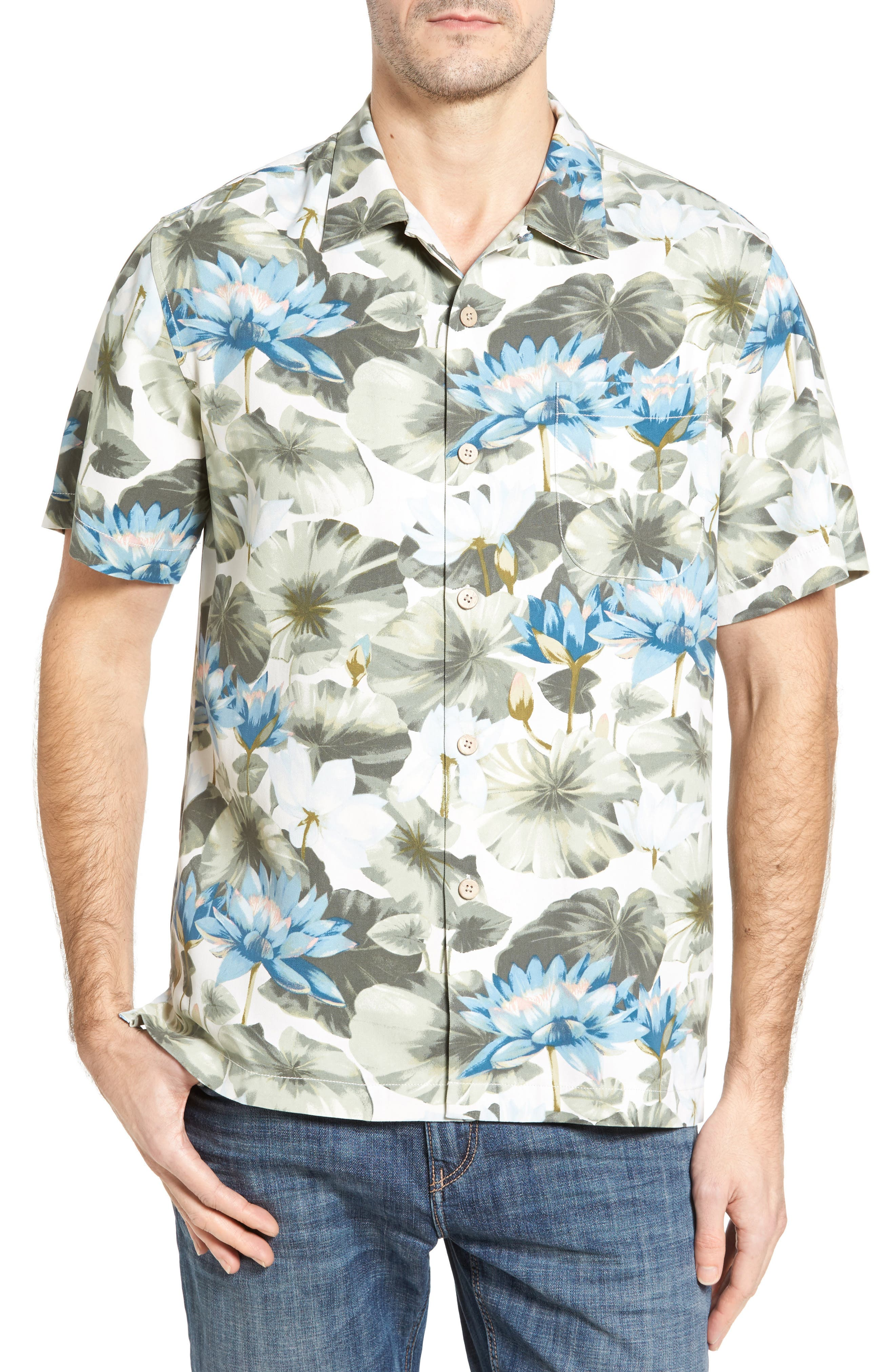 Lagoon Lotus Original Fit Silk Camp Shirt,                         Main,                         color, 100