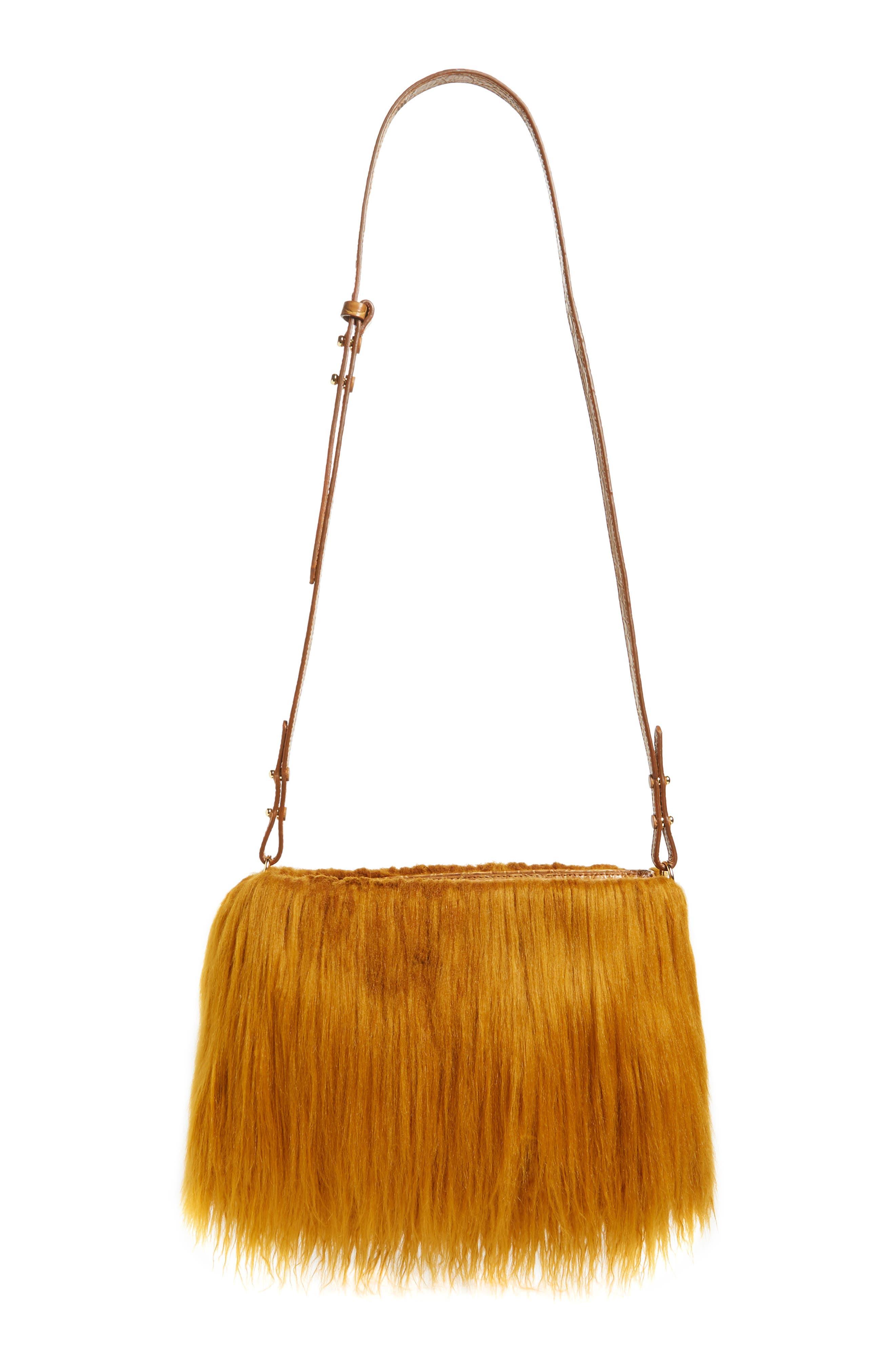 Faux Shearling Crossbody Bag,                             Alternate thumbnail 4, color,                             GOLD