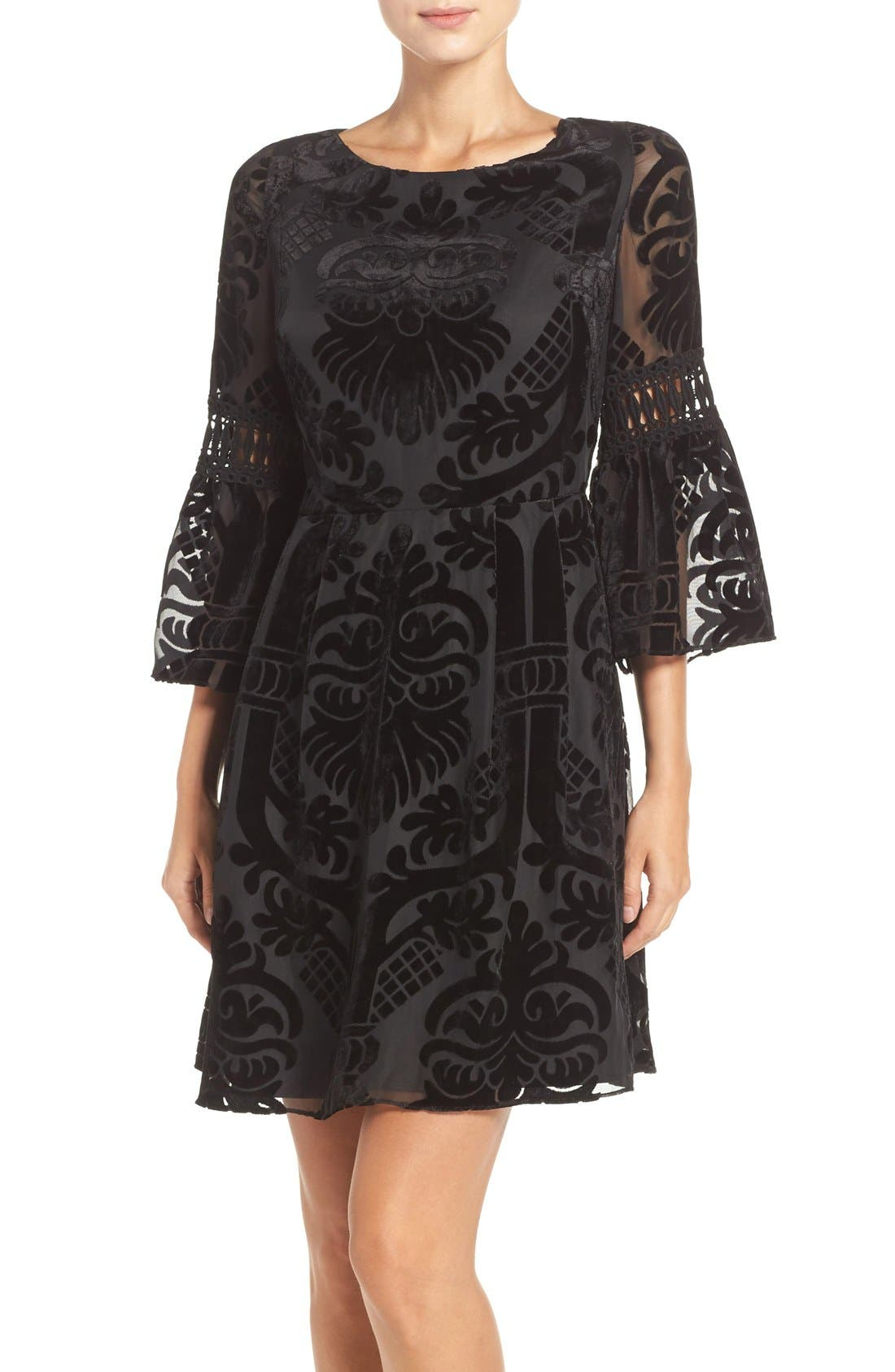 Burnout Velvet Fit & Flare Dress,                         Main,                         color, 001