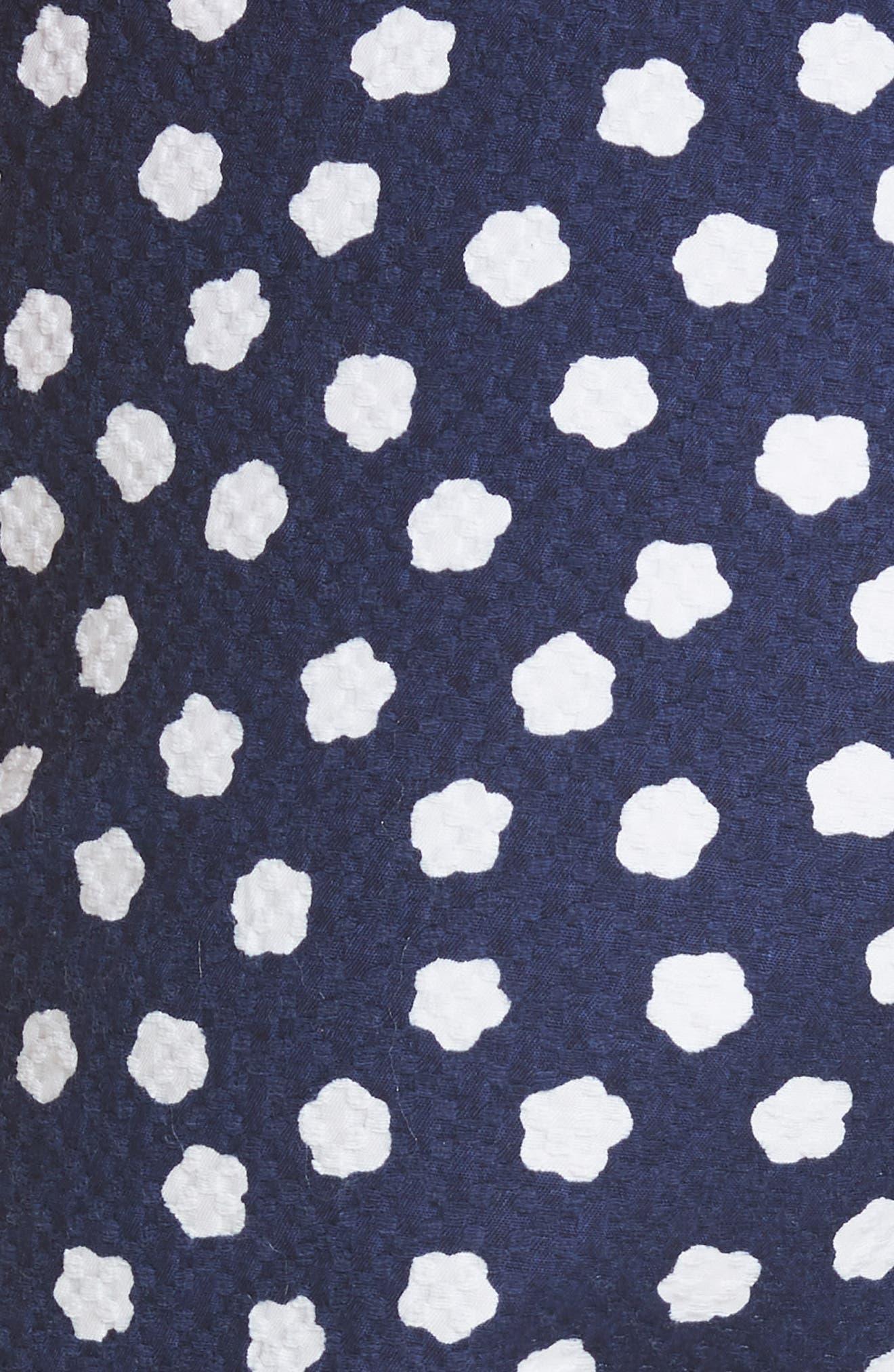 cloud print stretch cotton jacquard pants,                             Alternate thumbnail 5, color,                             483