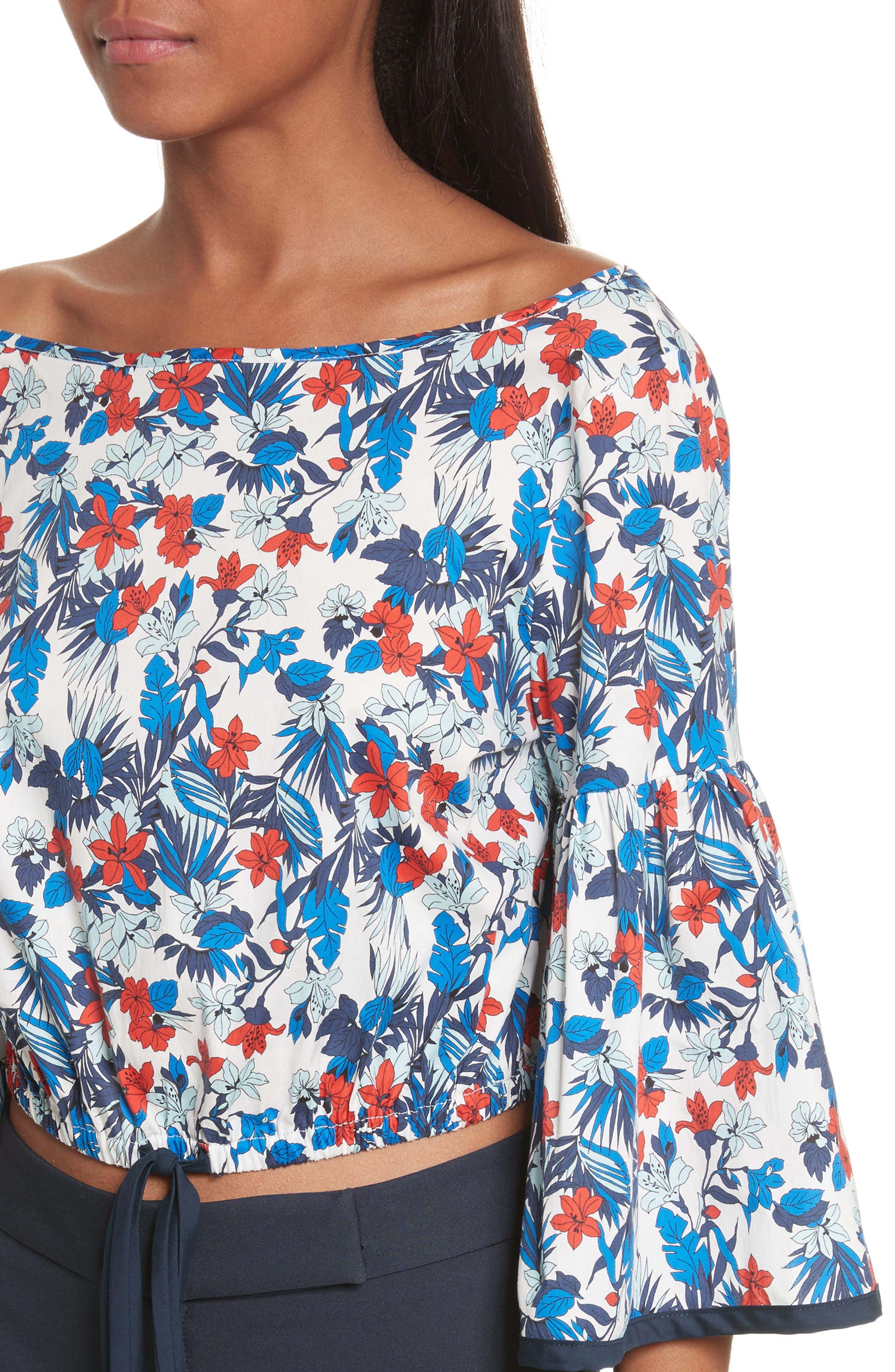 Hibiscus Print Stretch Cotton Top,                             Alternate thumbnail 4, color,                             433