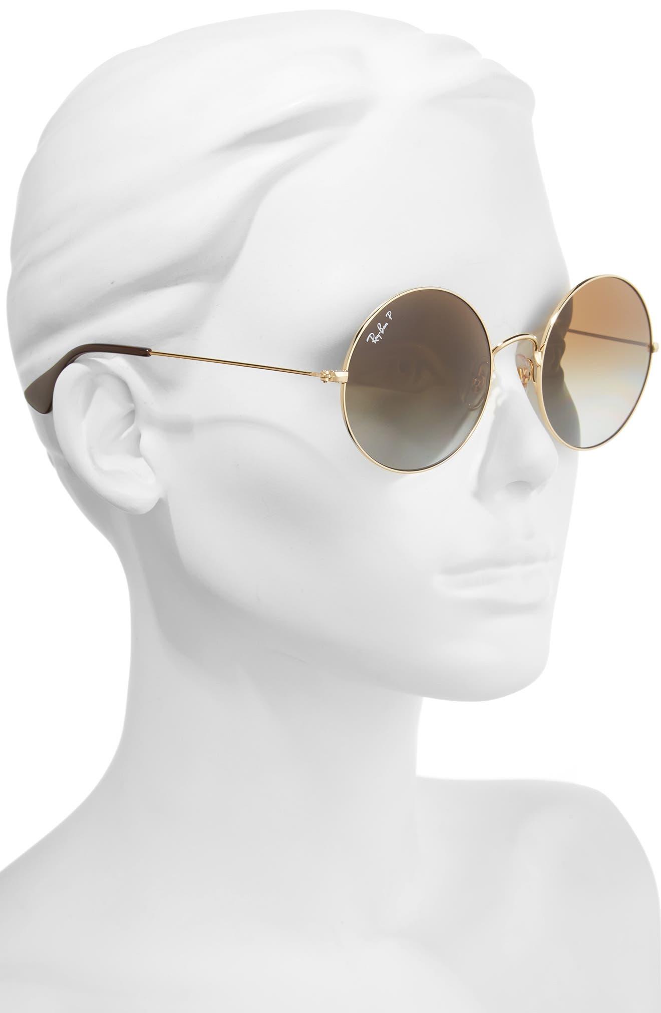 55mm Polarized Round Sunglasses,                             Alternate thumbnail 4, color,