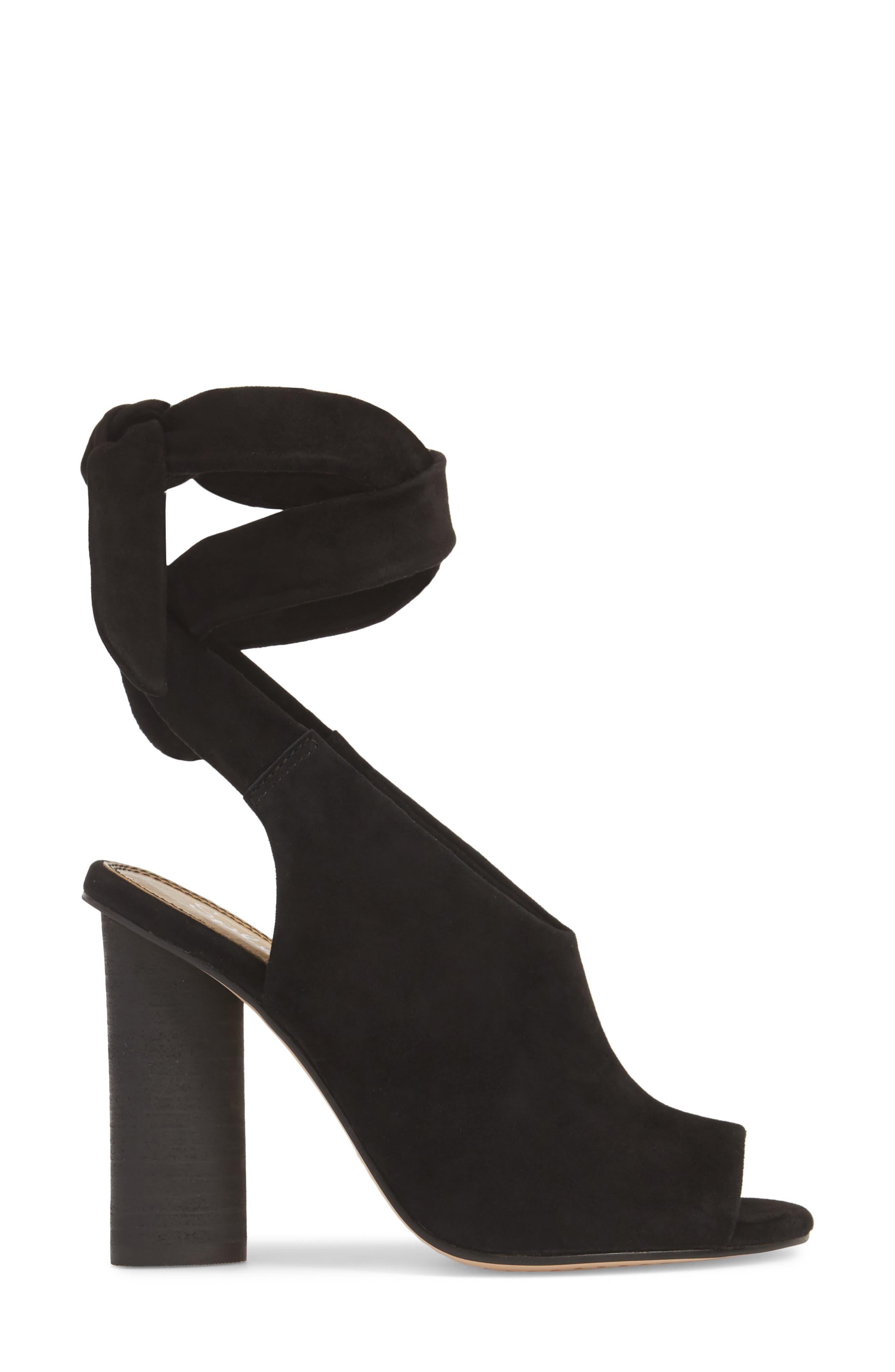 Navarro Ankle Wrap Sandal,                             Alternate thumbnail 3, color,                             BLACK SUEDE