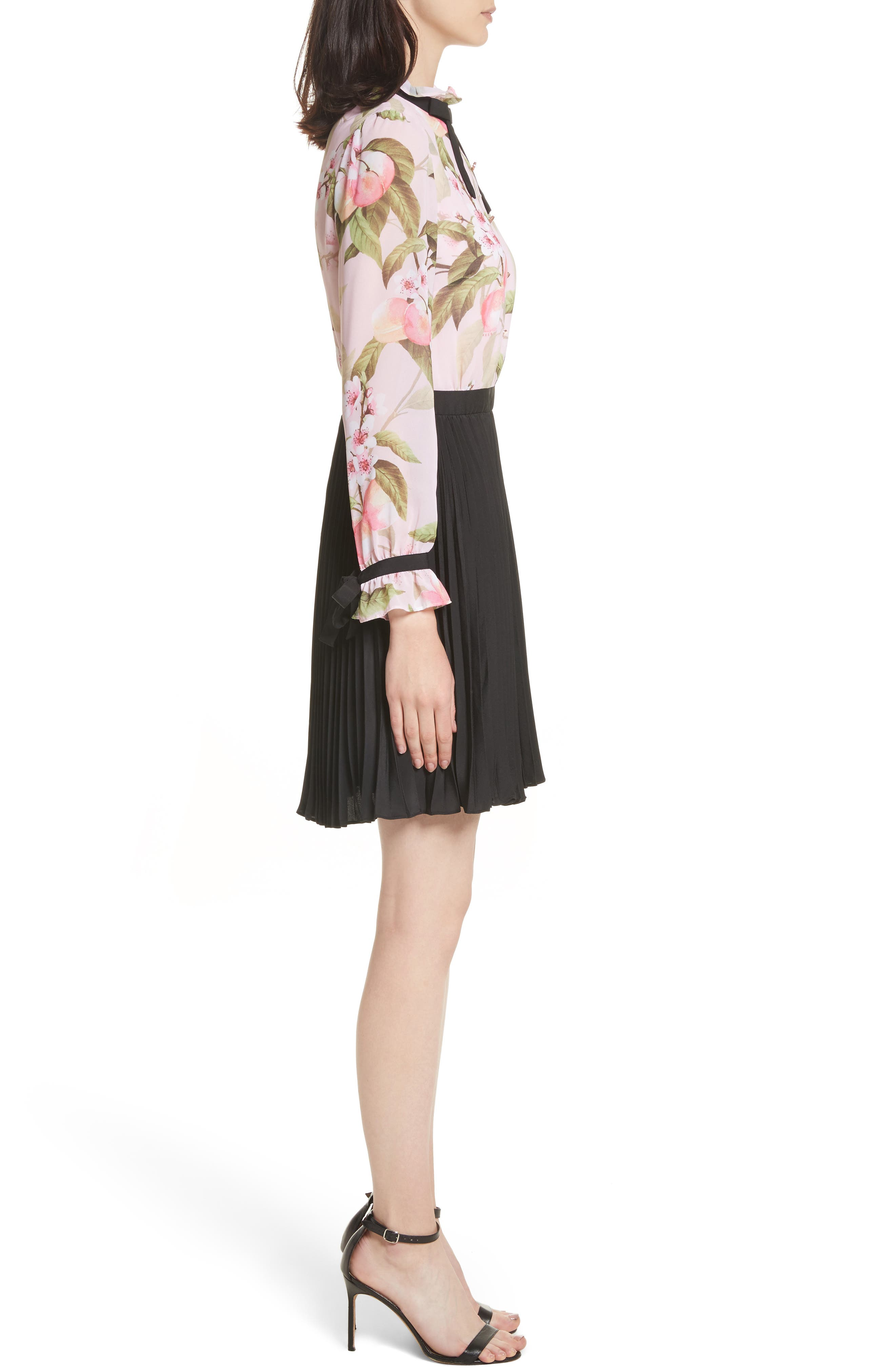 Peach Blossom Pleat Shirtdress,                             Alternate thumbnail 3, color,                             683