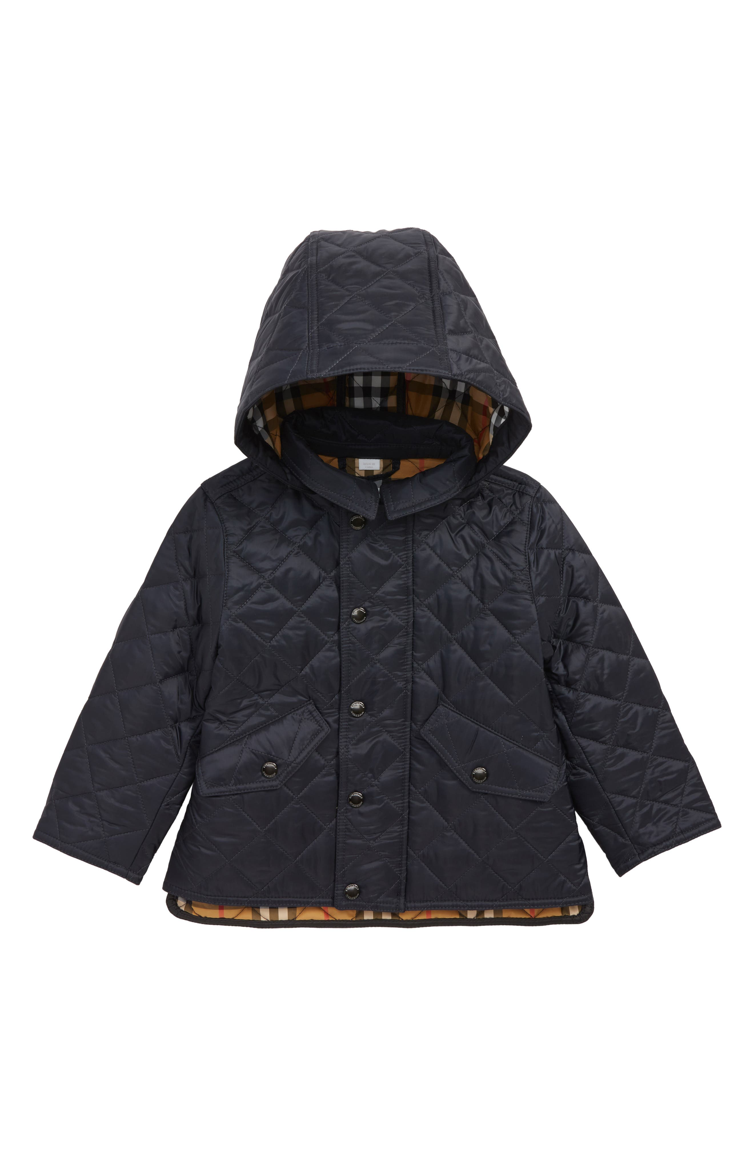 BURBERRY,                             Ilana Quilted Water Repellent Jacket,                             Main thumbnail 1, color,                             BRIGHT NAVY