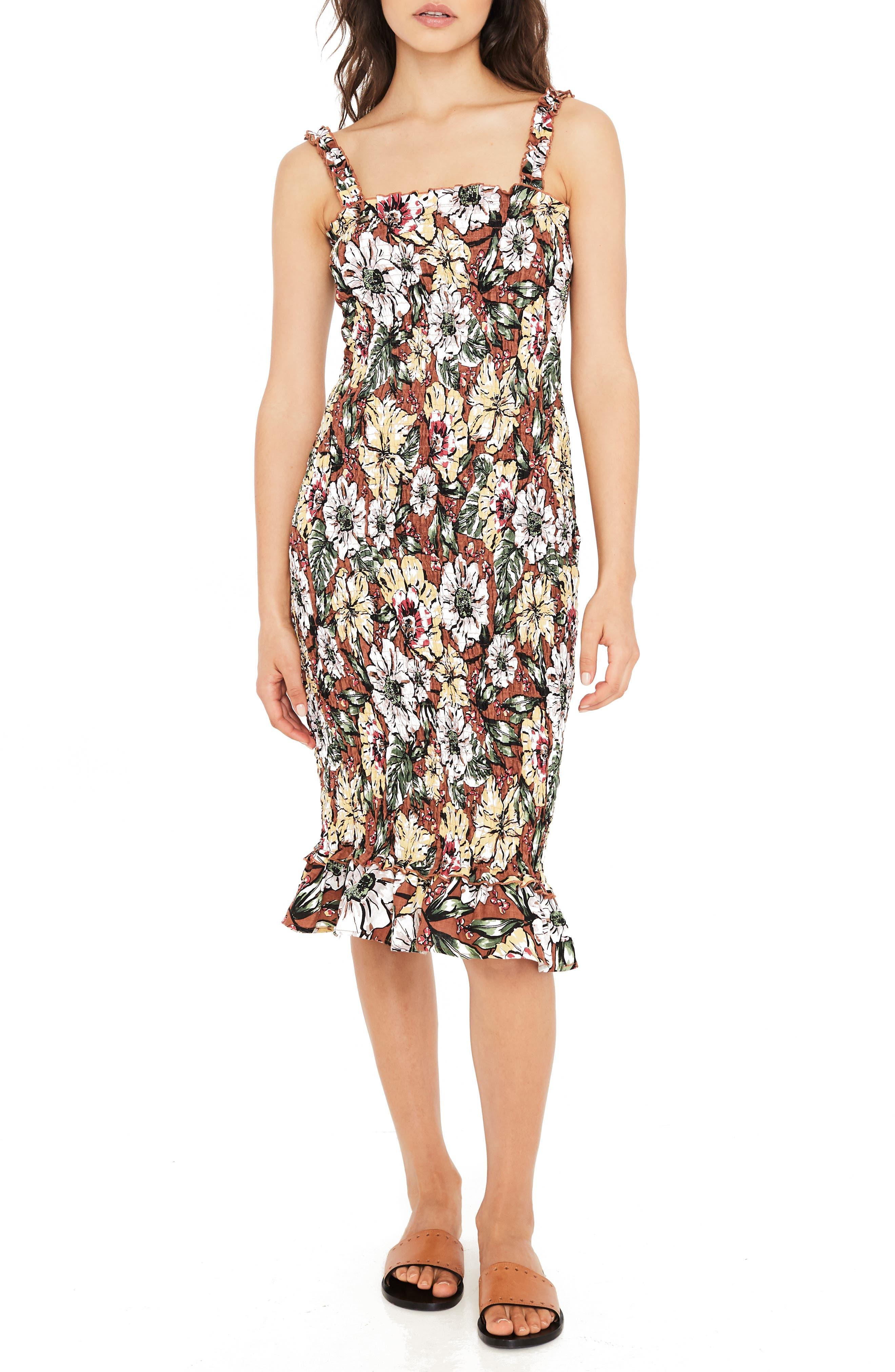 Maya Floral Print Smocked Midi Dress,                         Main,                         color, 600