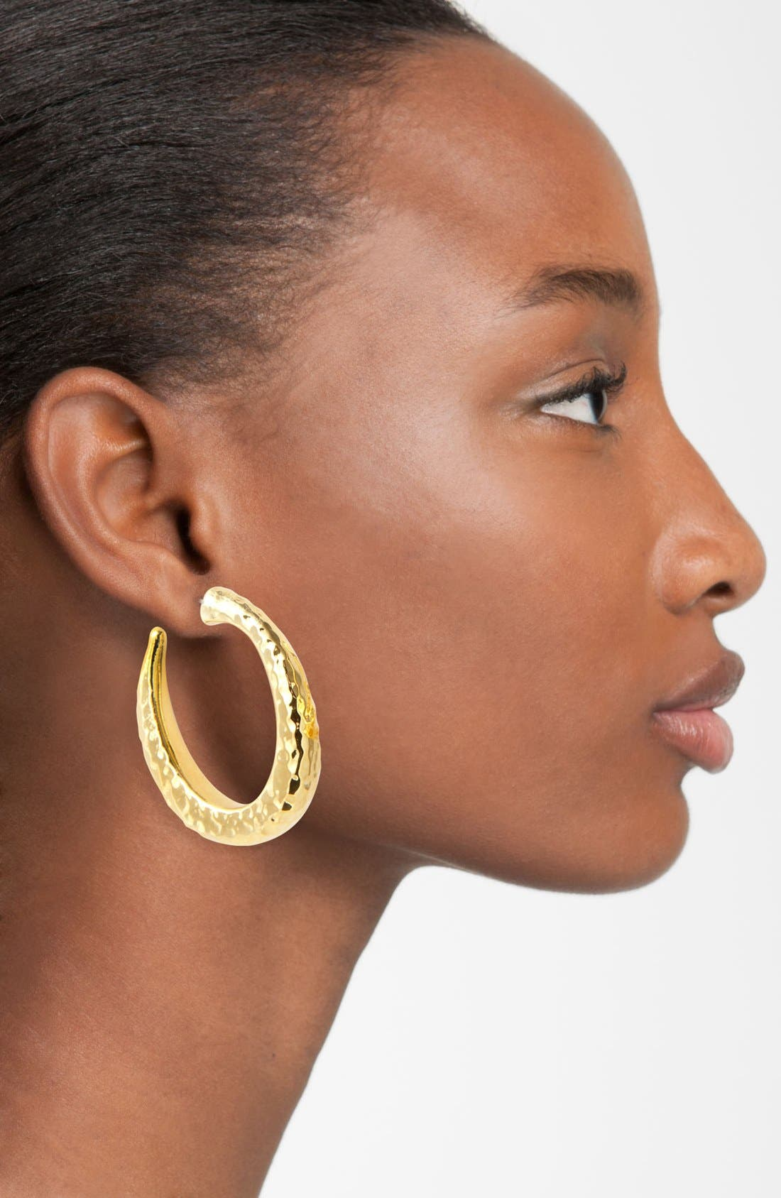 Hammered Oval Hoop Earrings,                             Alternate thumbnail 4, color,