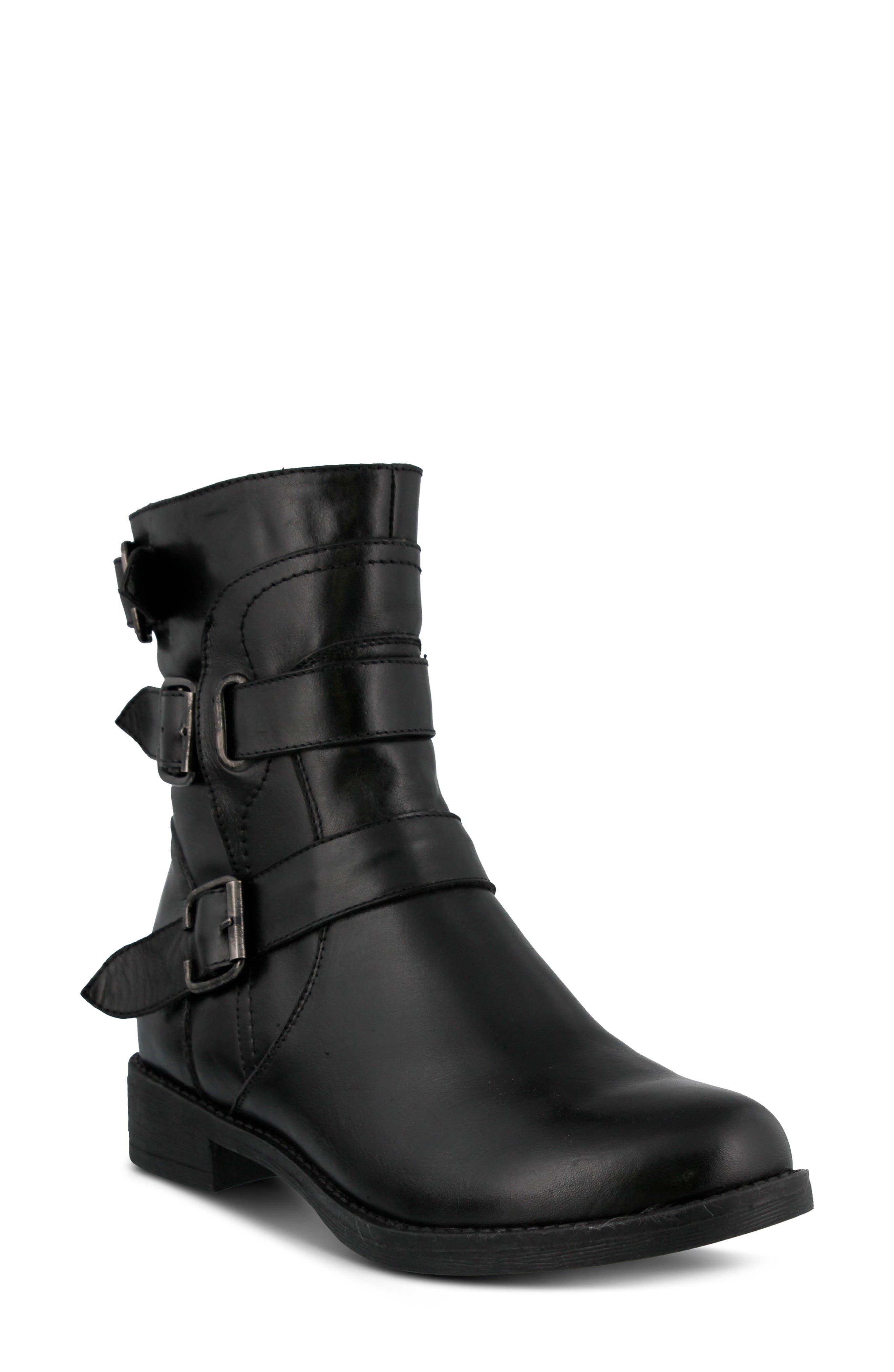 Diony Engineer Bootie,                             Main thumbnail 1, color,                             BLACK LEATHER