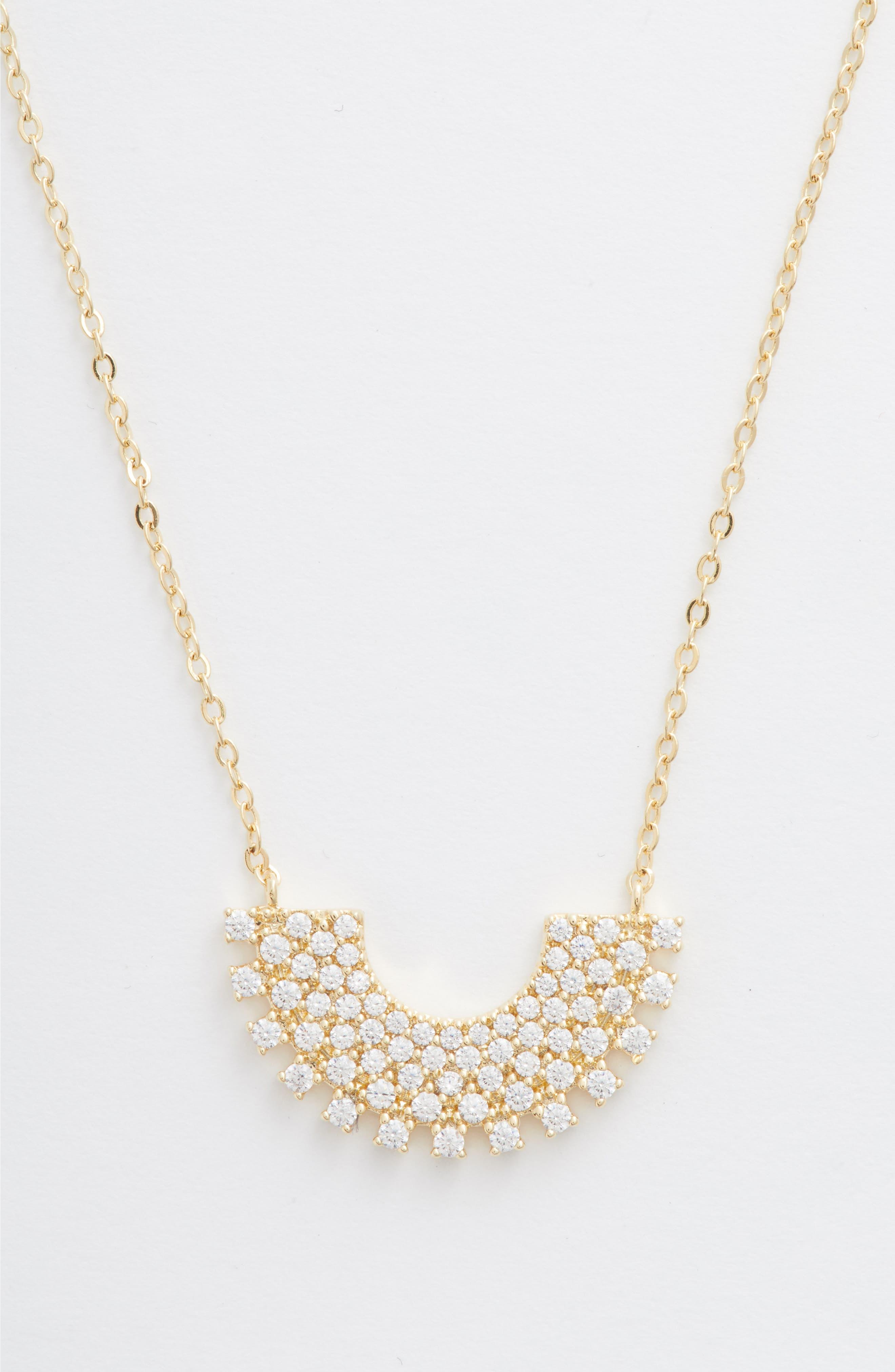 Pavé Sunburst Pendant Necklace, Main, color, CLEAR- GOLD