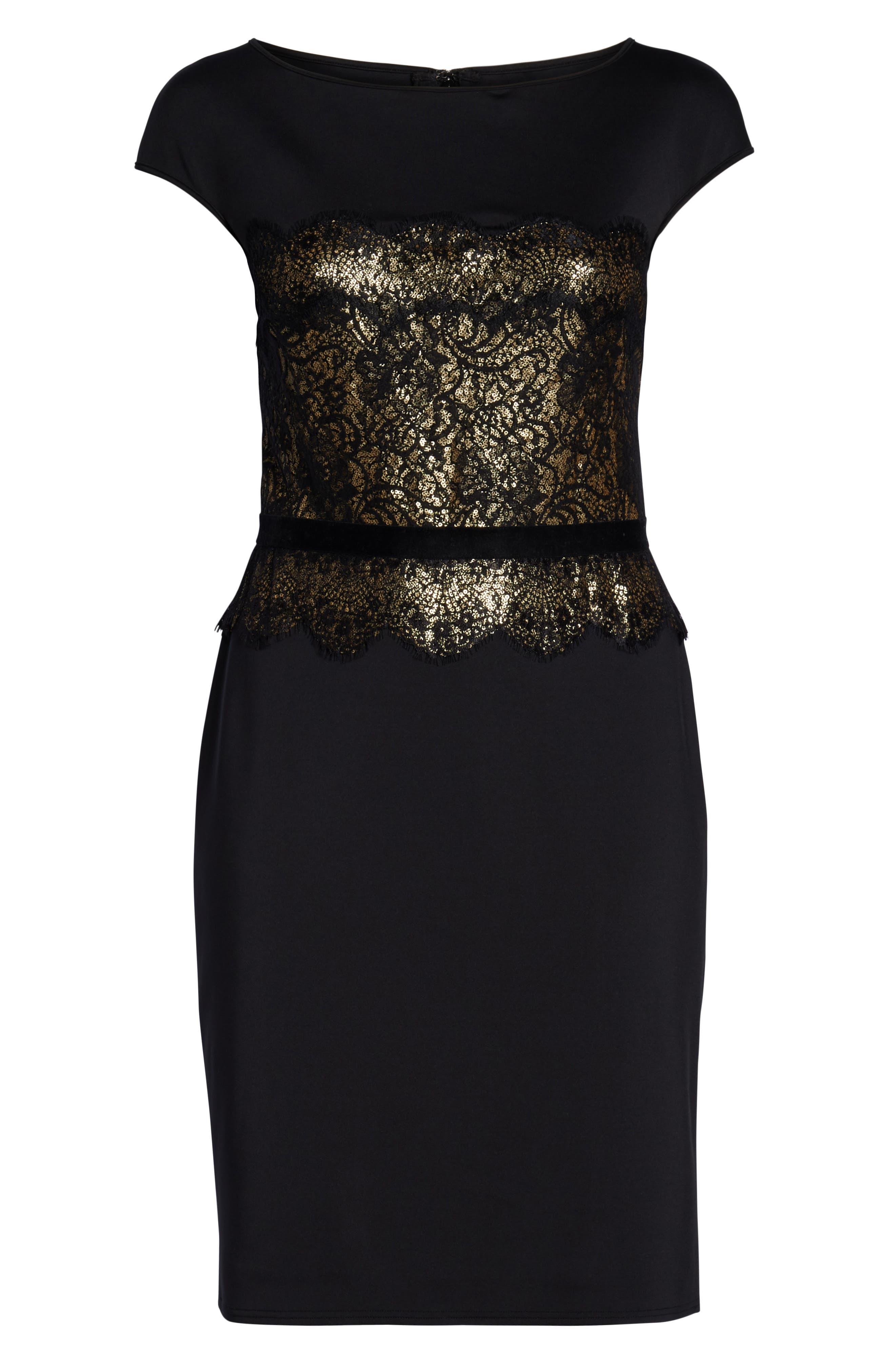 Lace Inset Scuba Dress,                             Alternate thumbnail 13, color,                             BLACK/ GOLD