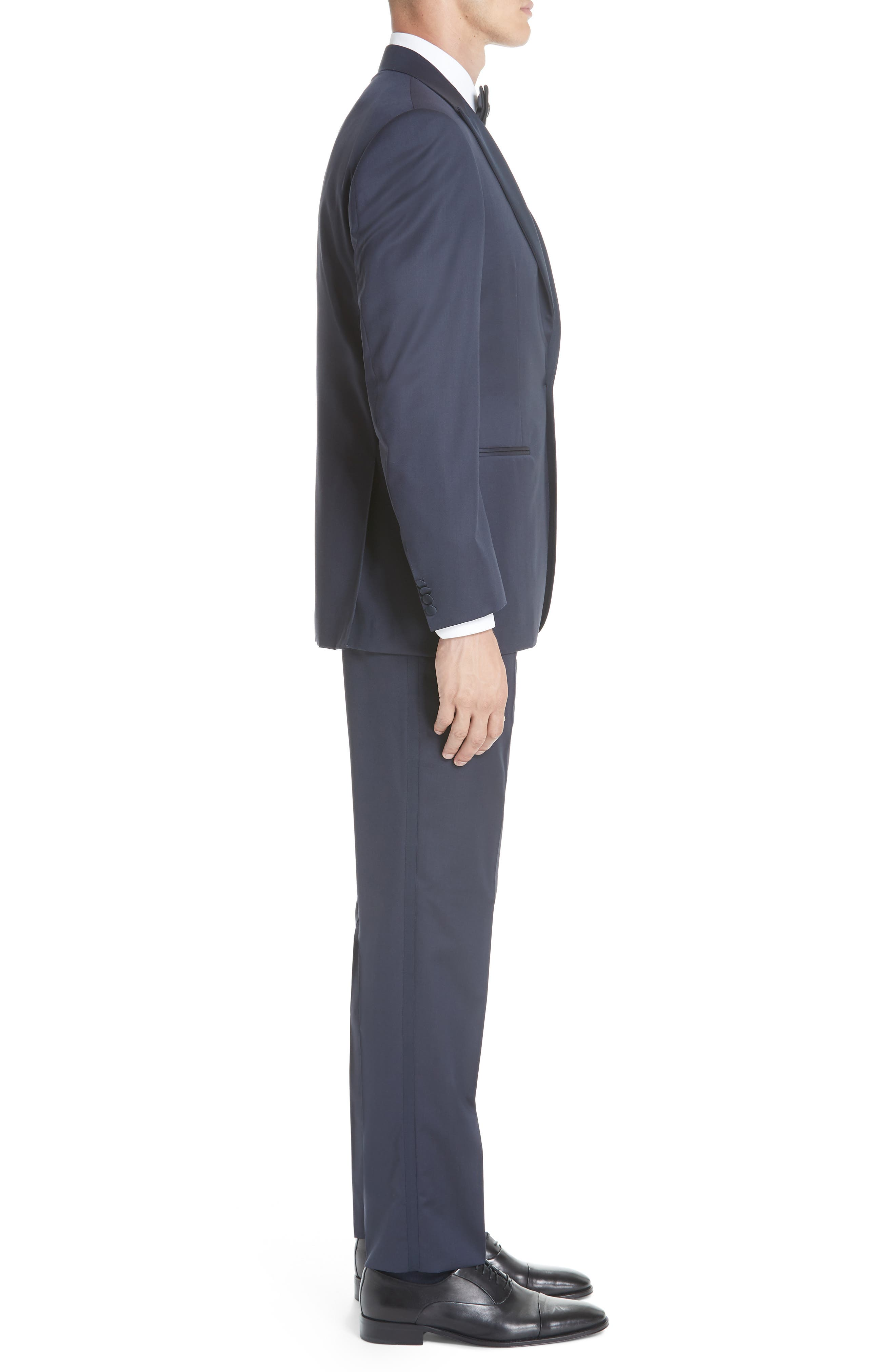 Classic Fit Wool Tuxedo,                             Alternate thumbnail 3, color,                             NAVY