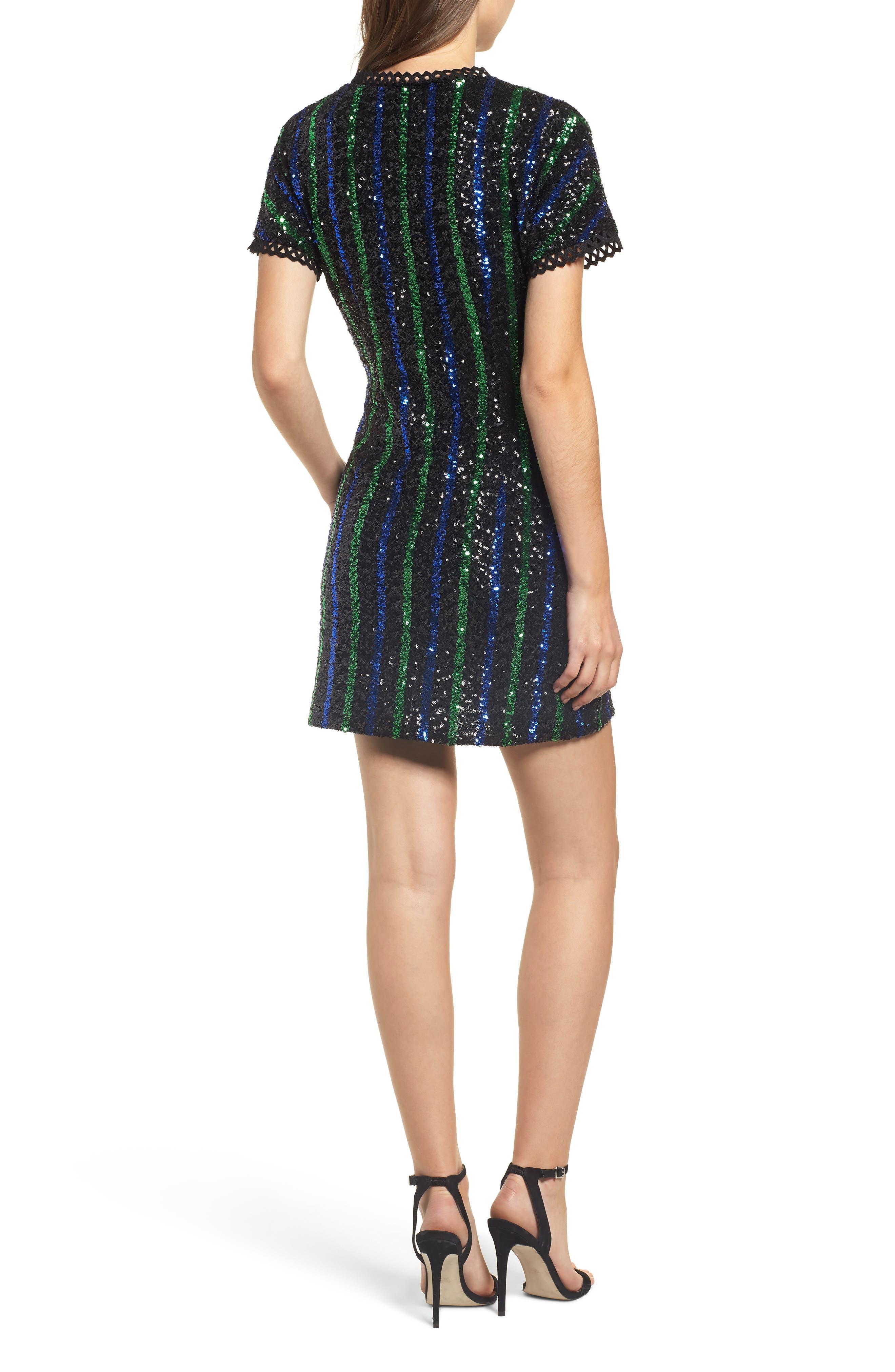 Sequin Stripe Minidress,                             Alternate thumbnail 2, color,                             BLACK