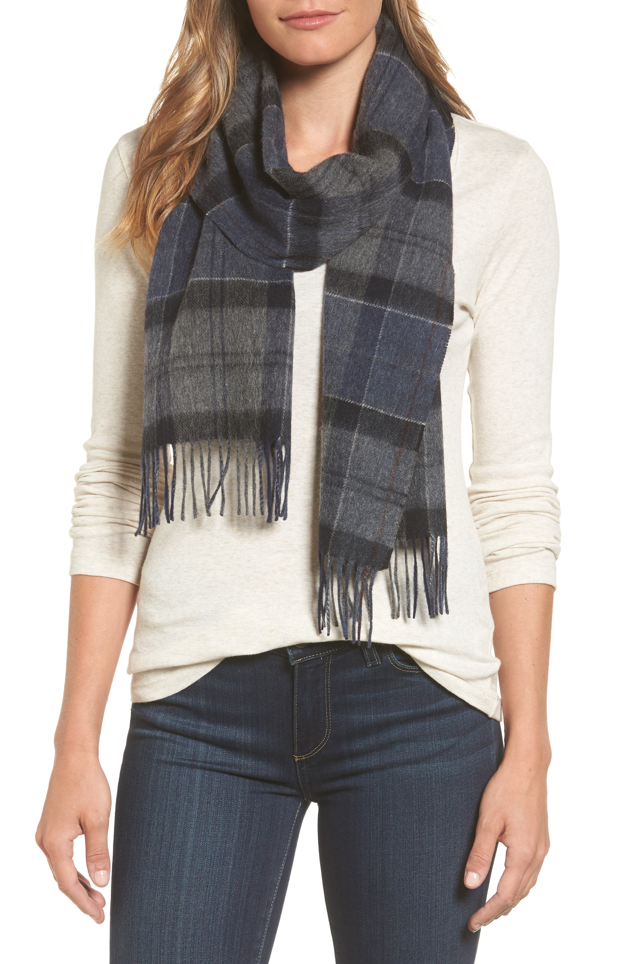 Tartan Plaid Wool & Cashmere Scarf, Main, color, 410