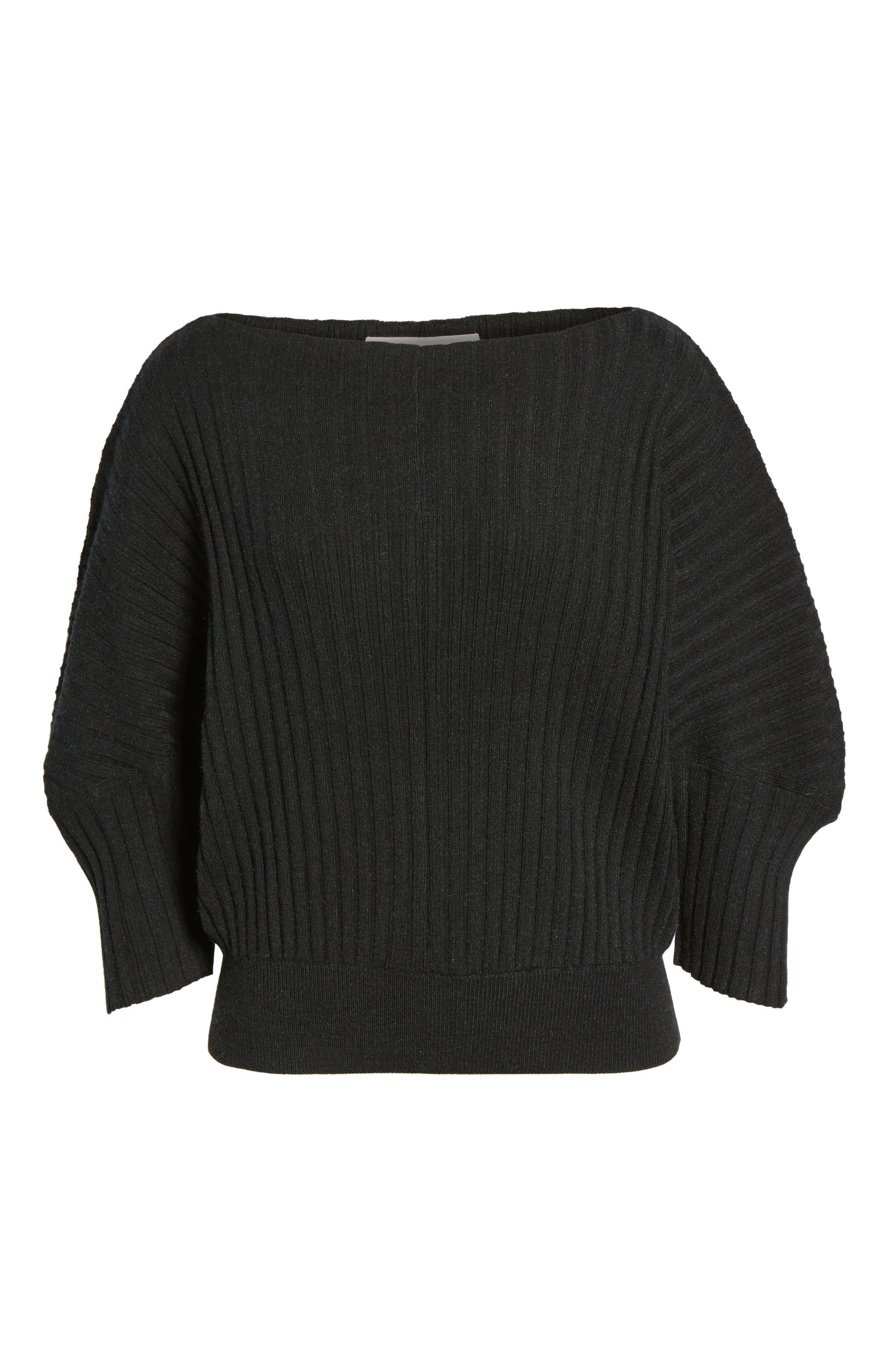 Rib Knit Blouson Sweater,                             Alternate thumbnail 6, color,                             001