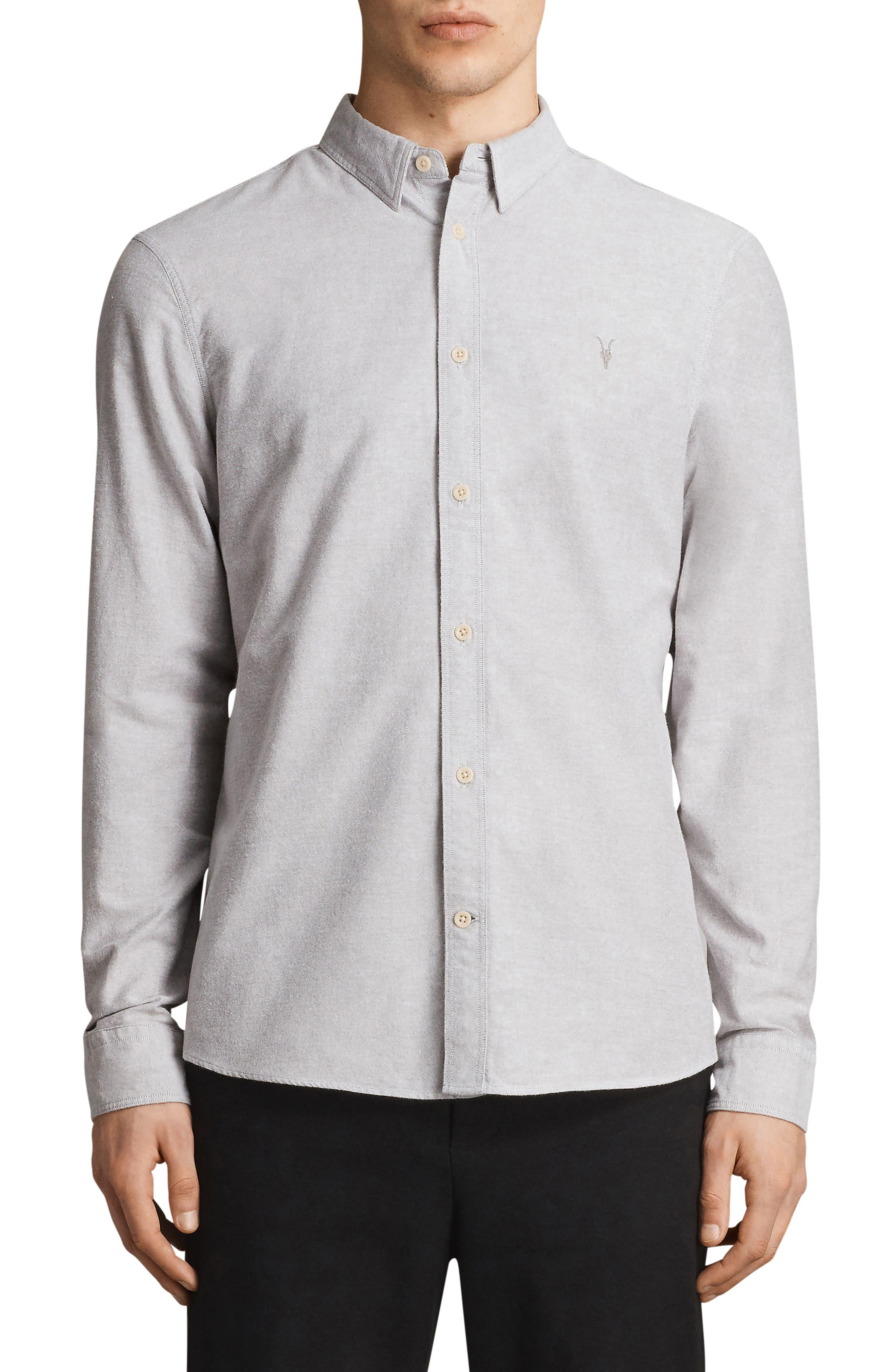 Huntington Regular Fit Sport Shirt,                         Main,                         color, DARK GULL GREY