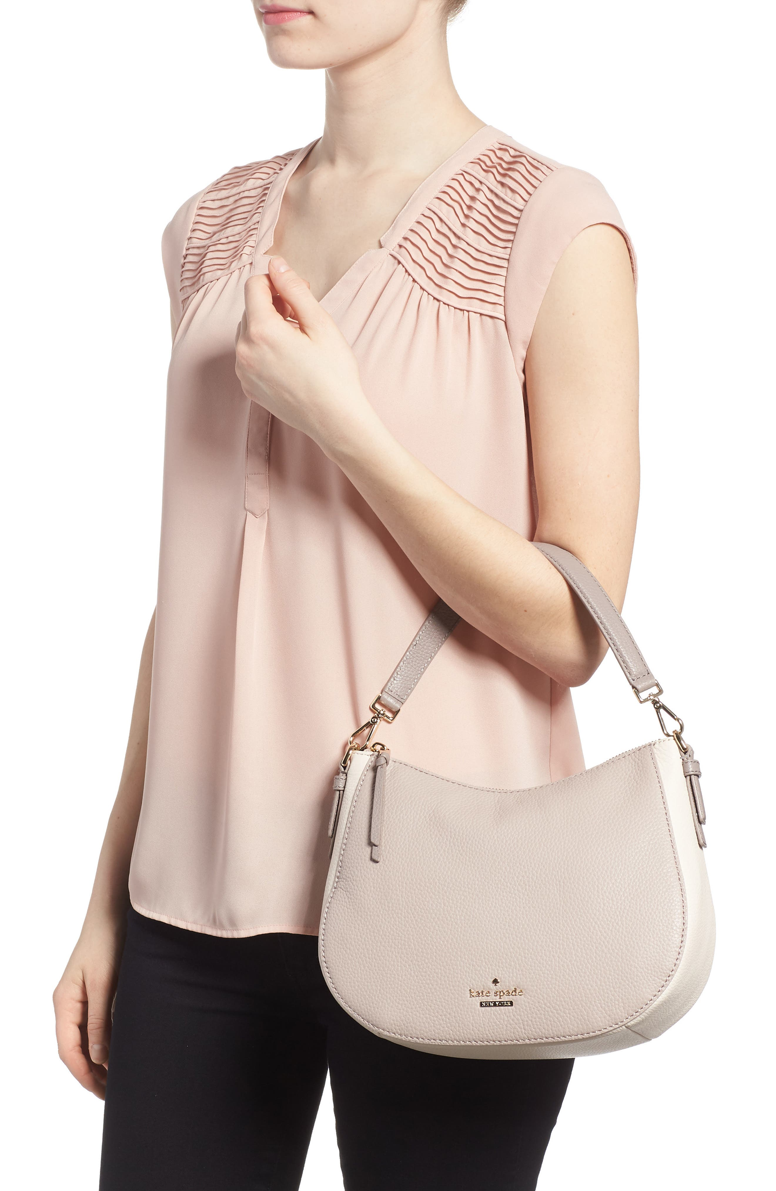 jackson street small mylie leather hobo,                             Alternate thumbnail 2, color,                             100