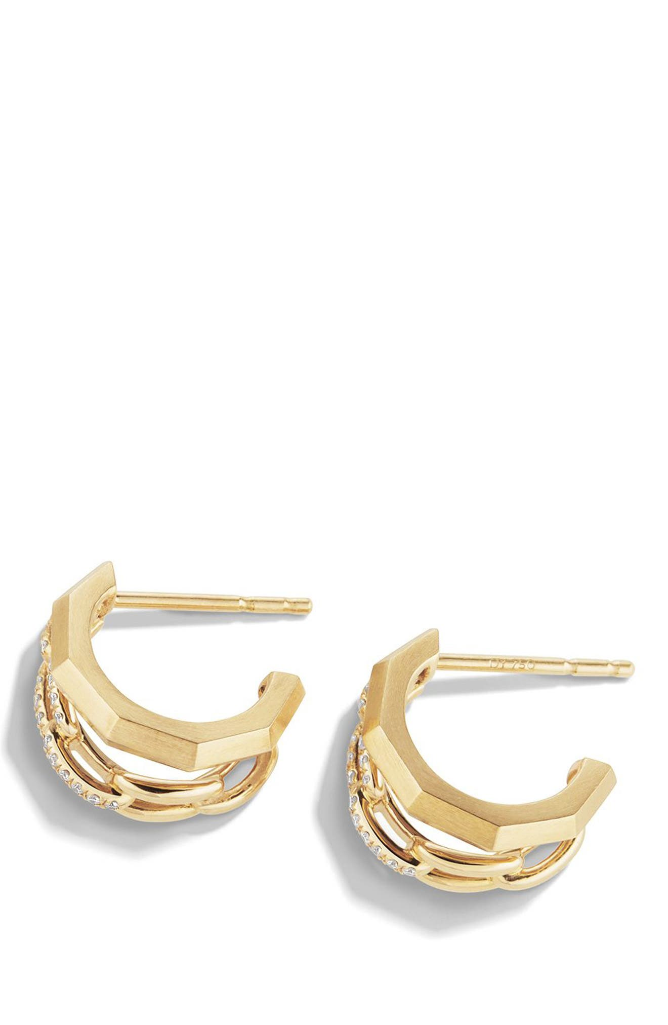 Stax Double Hoop Earrings with Diamonds,                             Alternate thumbnail 2, color,                             YELLOW GOLD