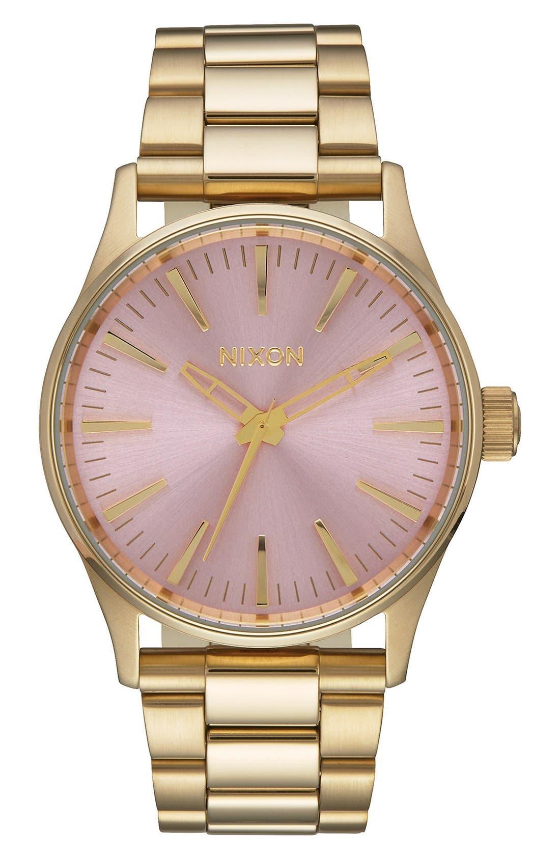 'Sentry' Bracelet Watch, 38mm,                             Main thumbnail 1, color,                             GOLD/ PINK