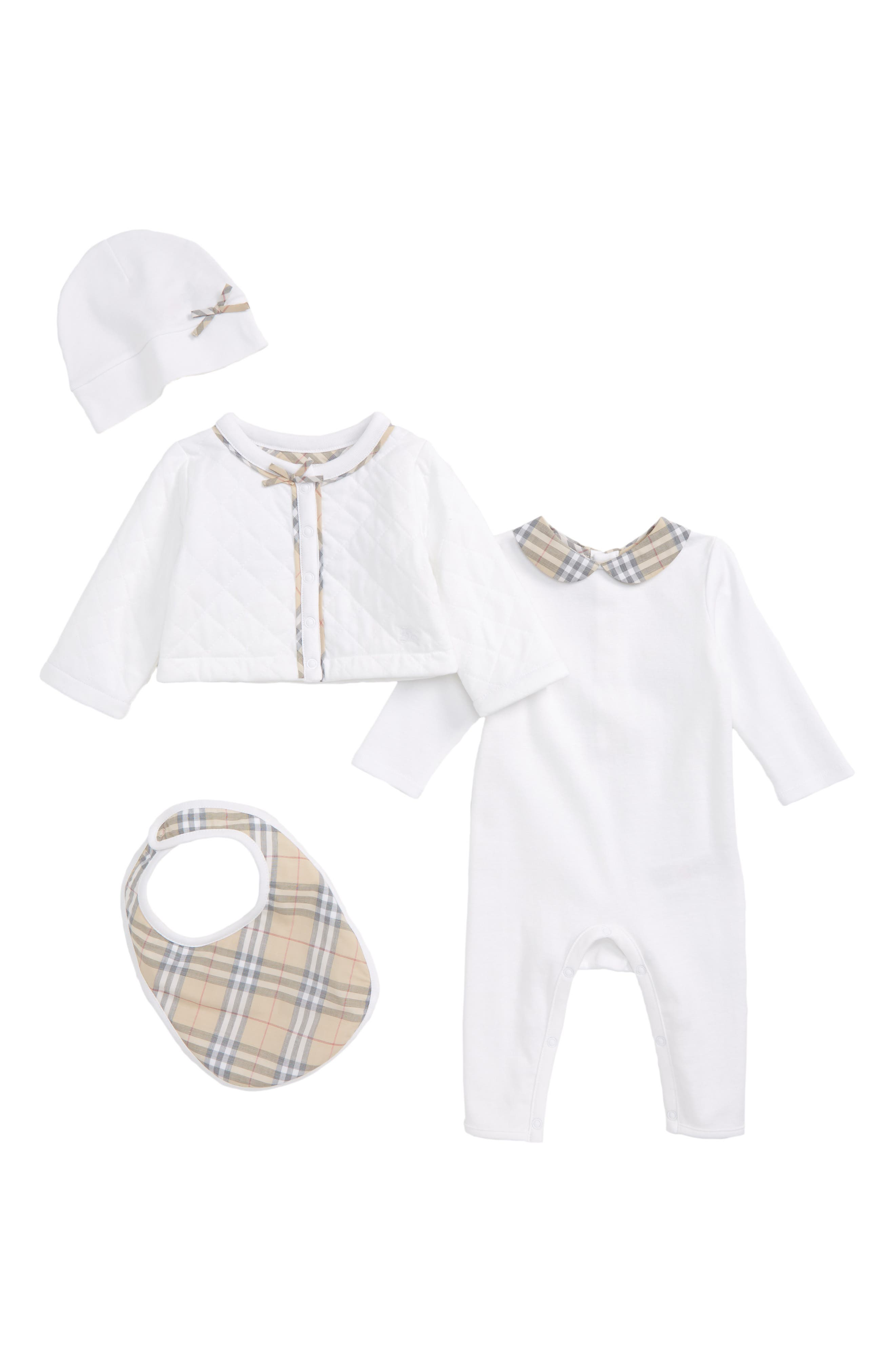 Zaria Romper, Jacket, Bib & Hat Set,                         Main,                         color,