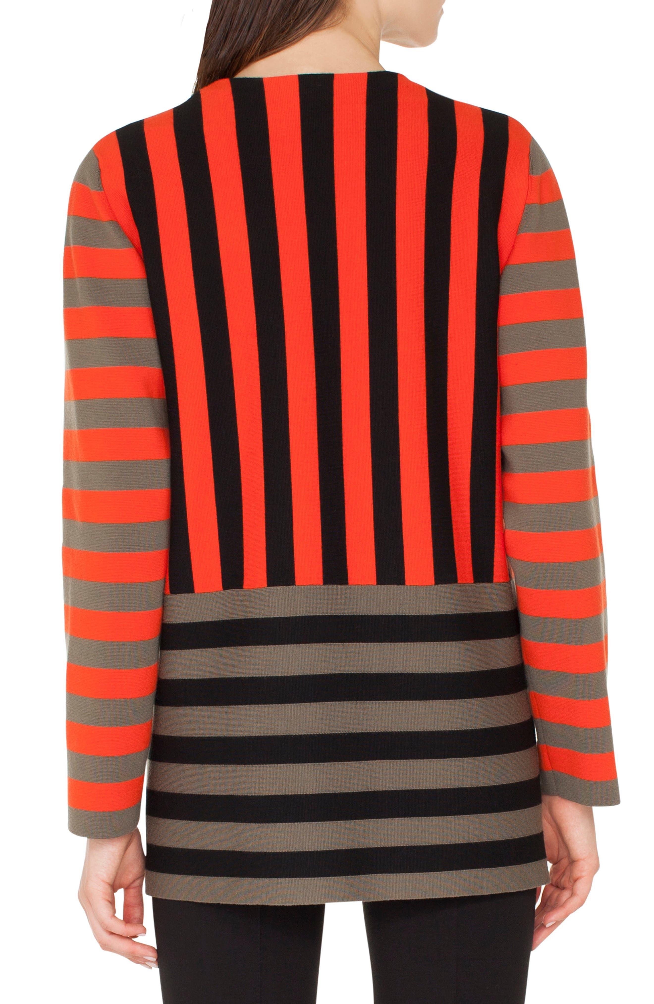 Stripe Open Cardigan,                             Alternate thumbnail 2, color,                             ROSSO FORTE-NERO-OLIVA