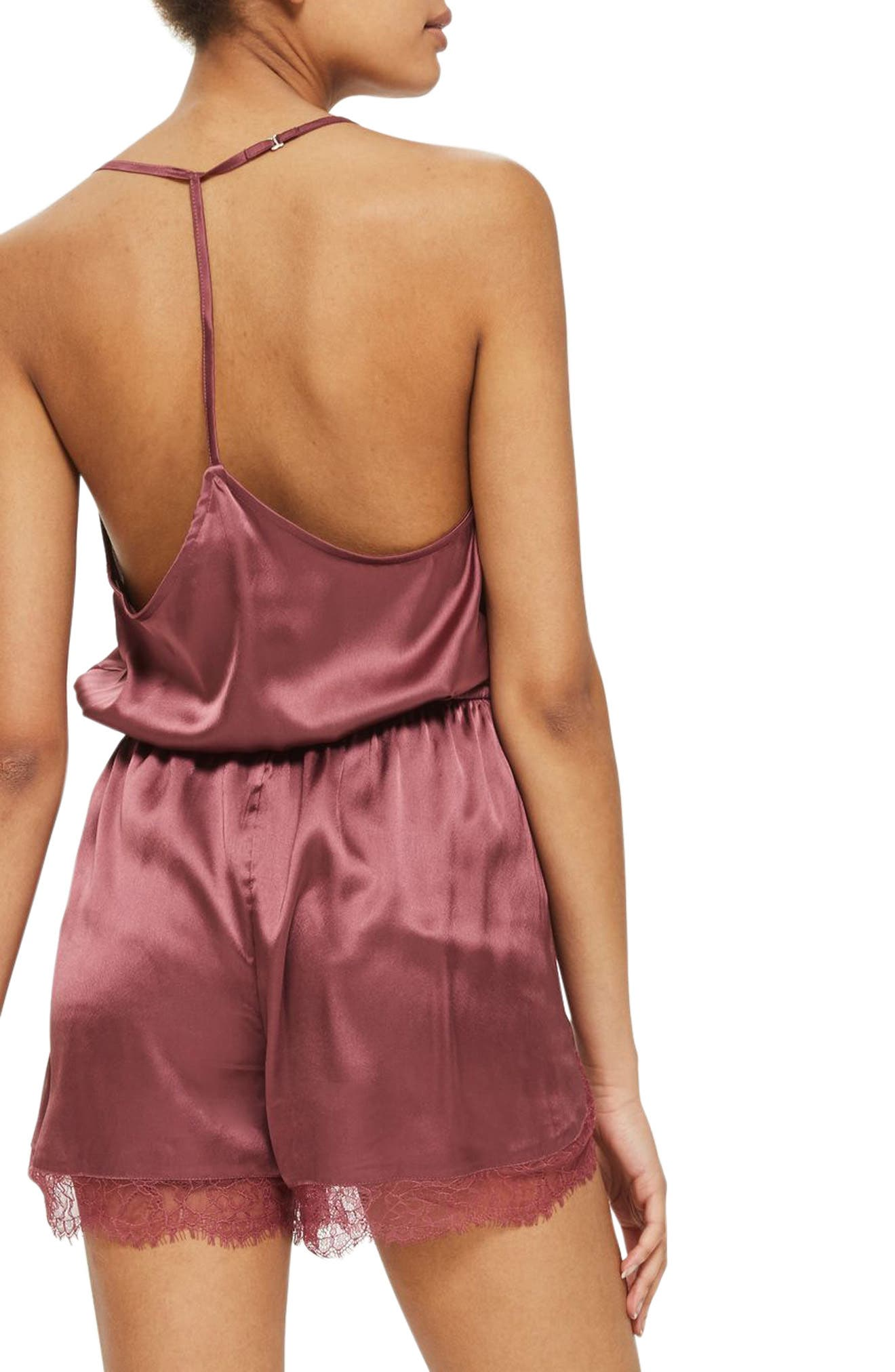 Satin & Lace Blouson Romper,                             Alternate thumbnail 2, color,                             652