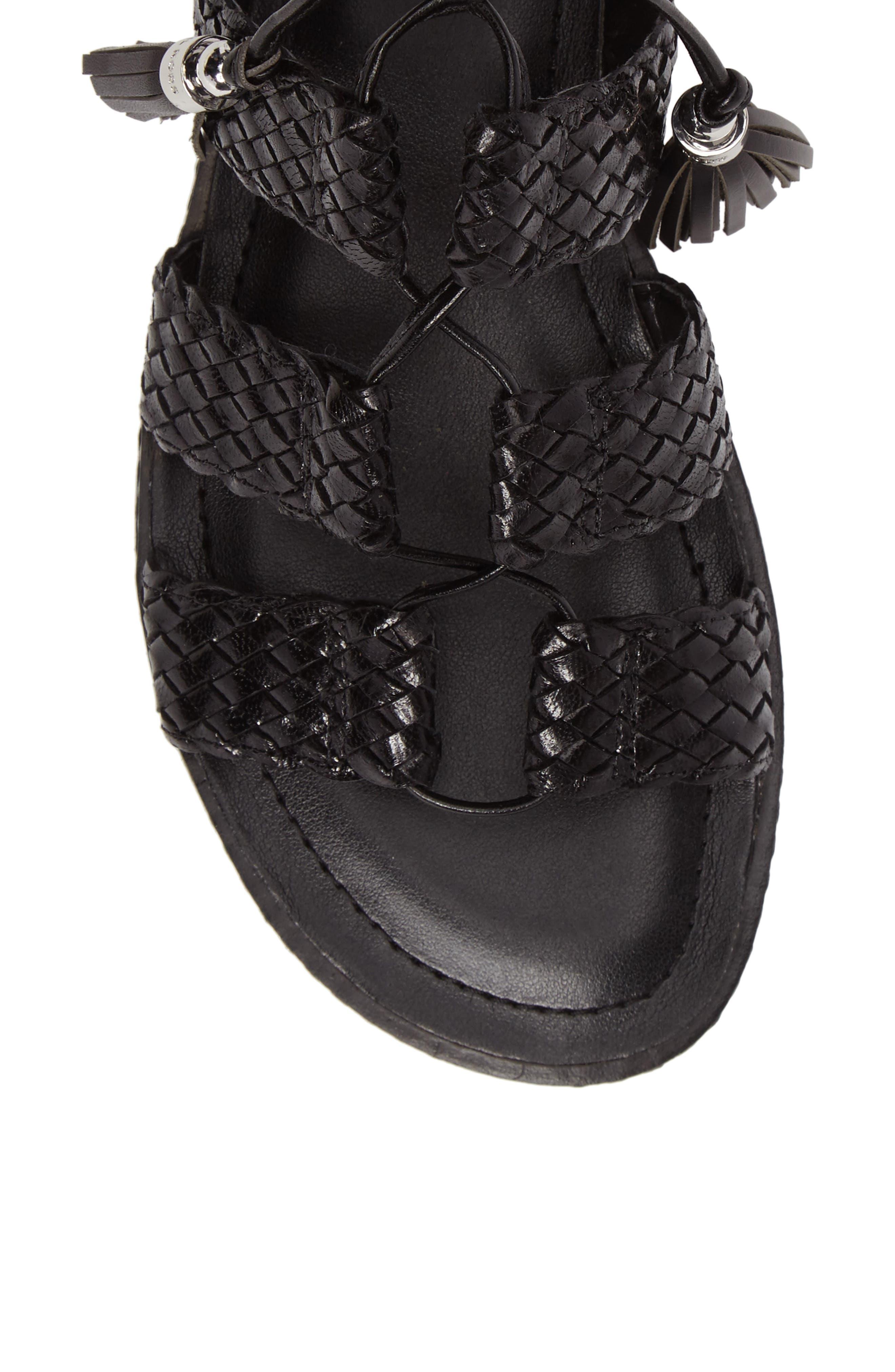 Monterey Lace-Up Gladiator Sandal,                             Alternate thumbnail 5, color,                             001