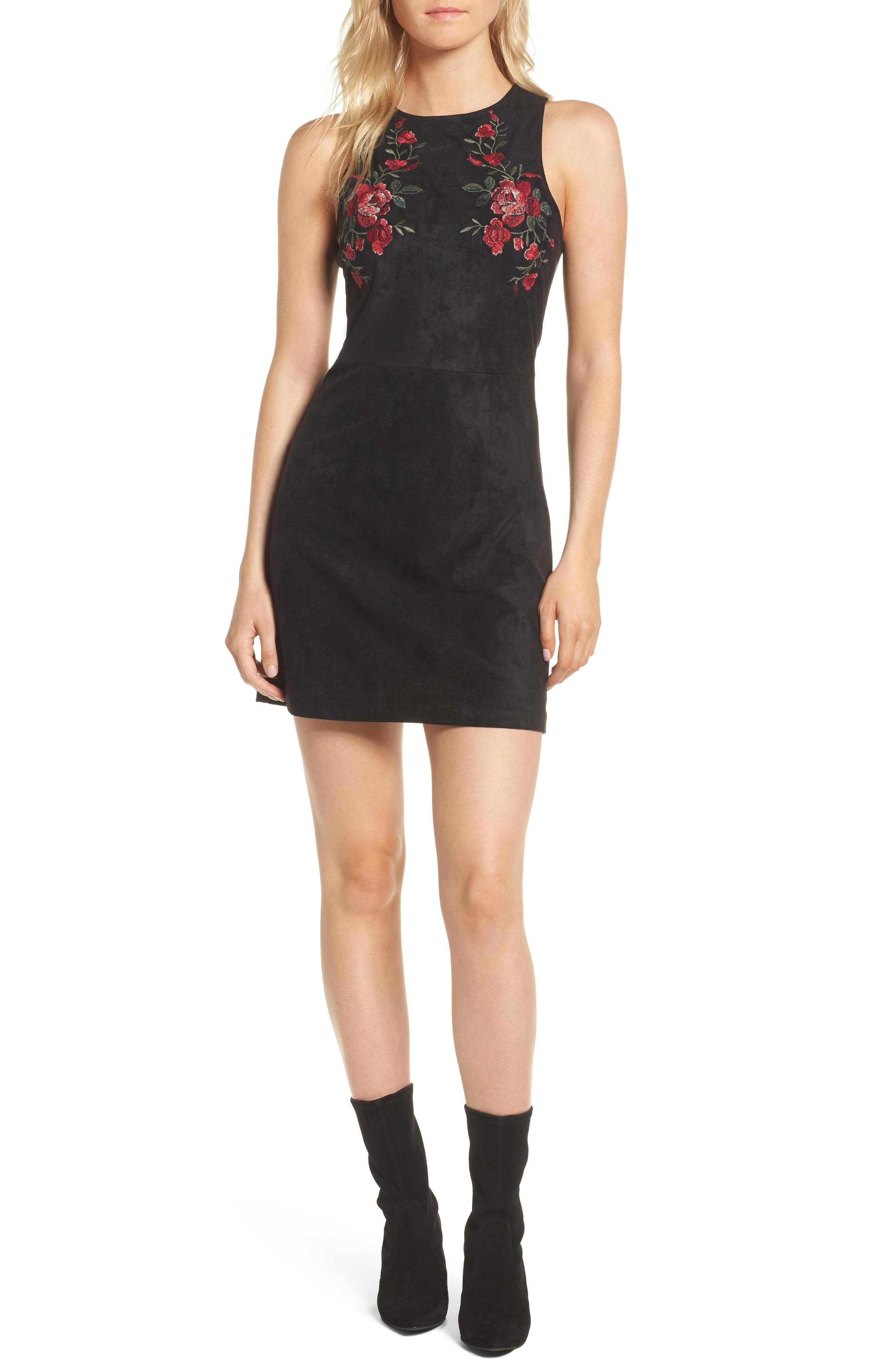 Valet Embroidered Minidress,                             Main thumbnail 1, color,                             001