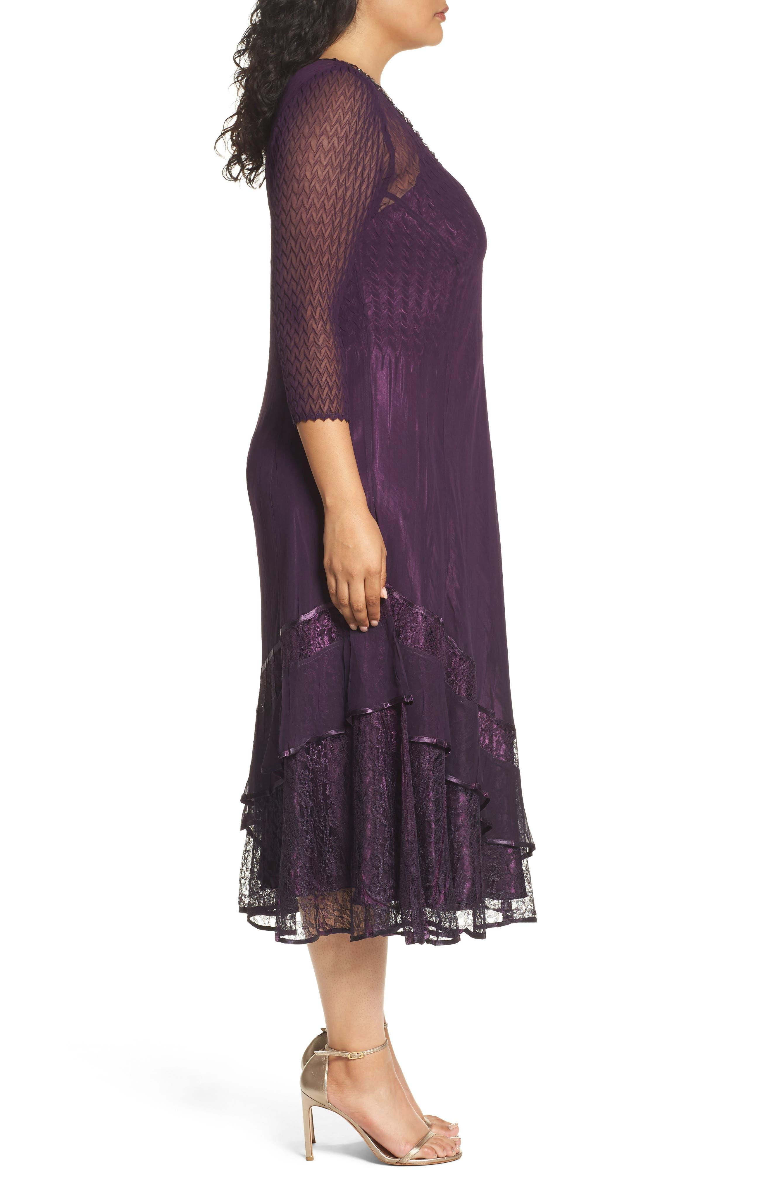 Chiffon Layer Charmeuse Dress,                             Alternate thumbnail 3, color,                             507