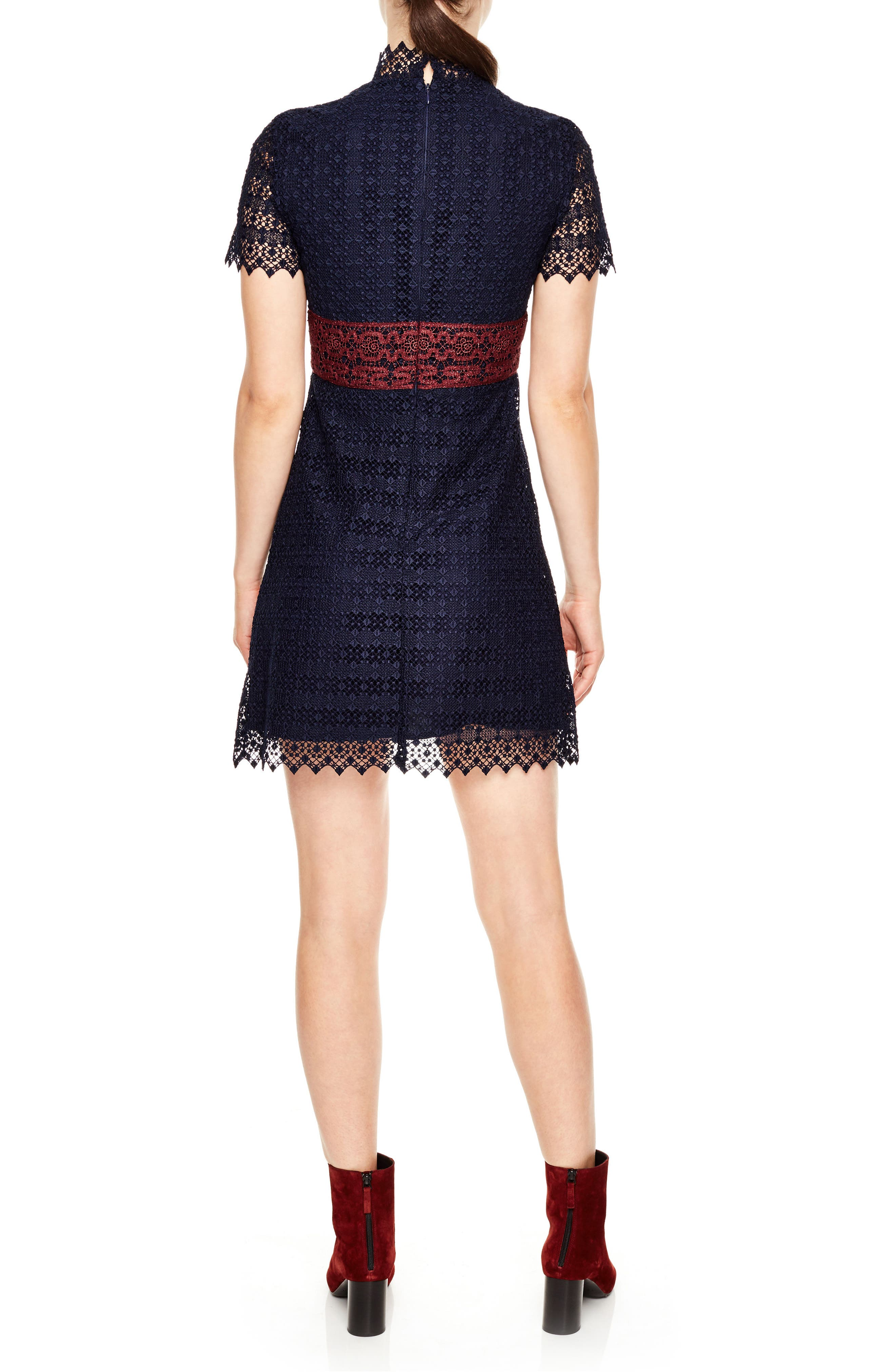 Mixed Lace A-Line Dress,                             Alternate thumbnail 2, color,                             400