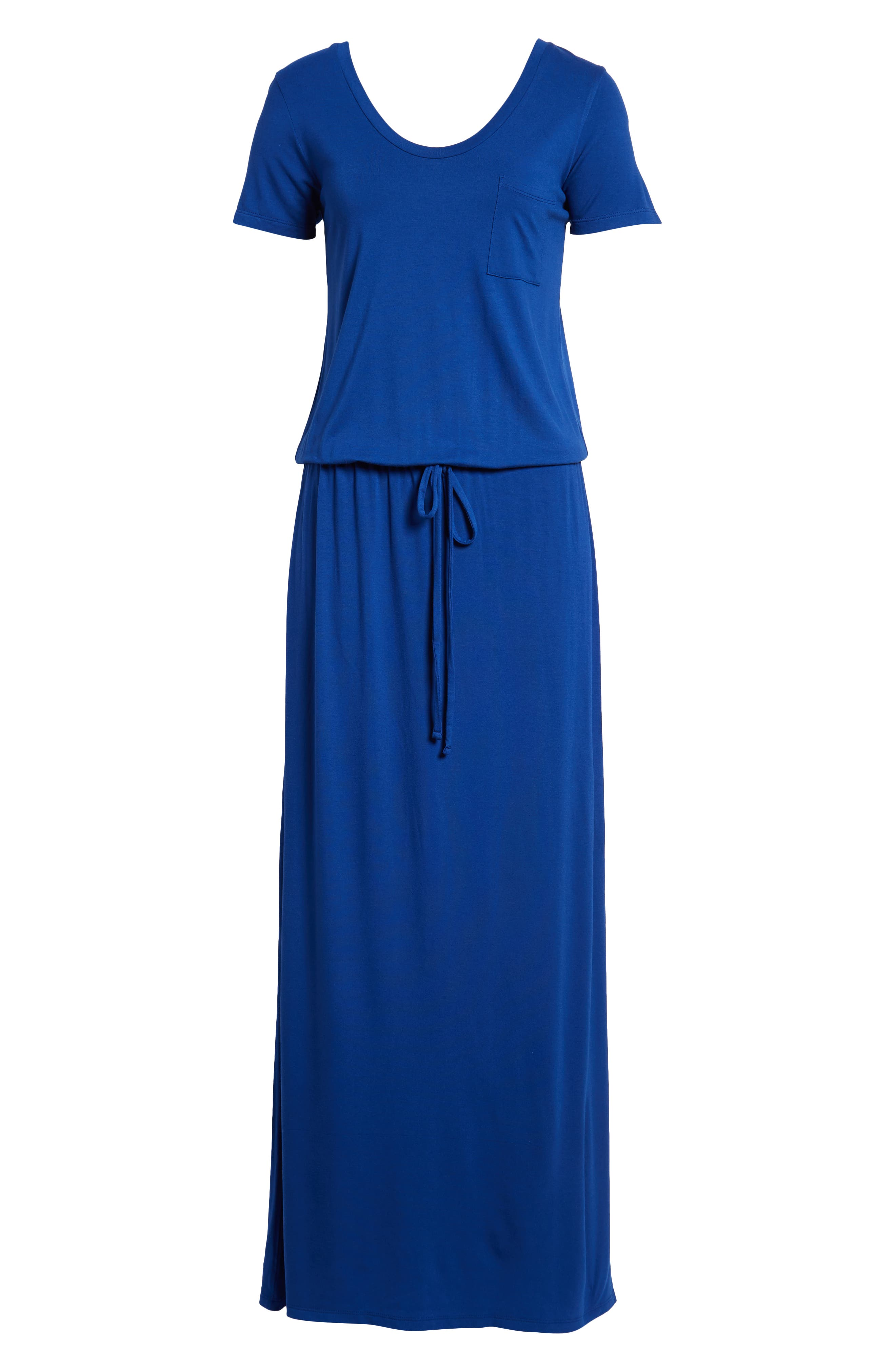 Drawstring V-Neck Jersey Maxi Dress,                             Alternate thumbnail 6, color,                             401