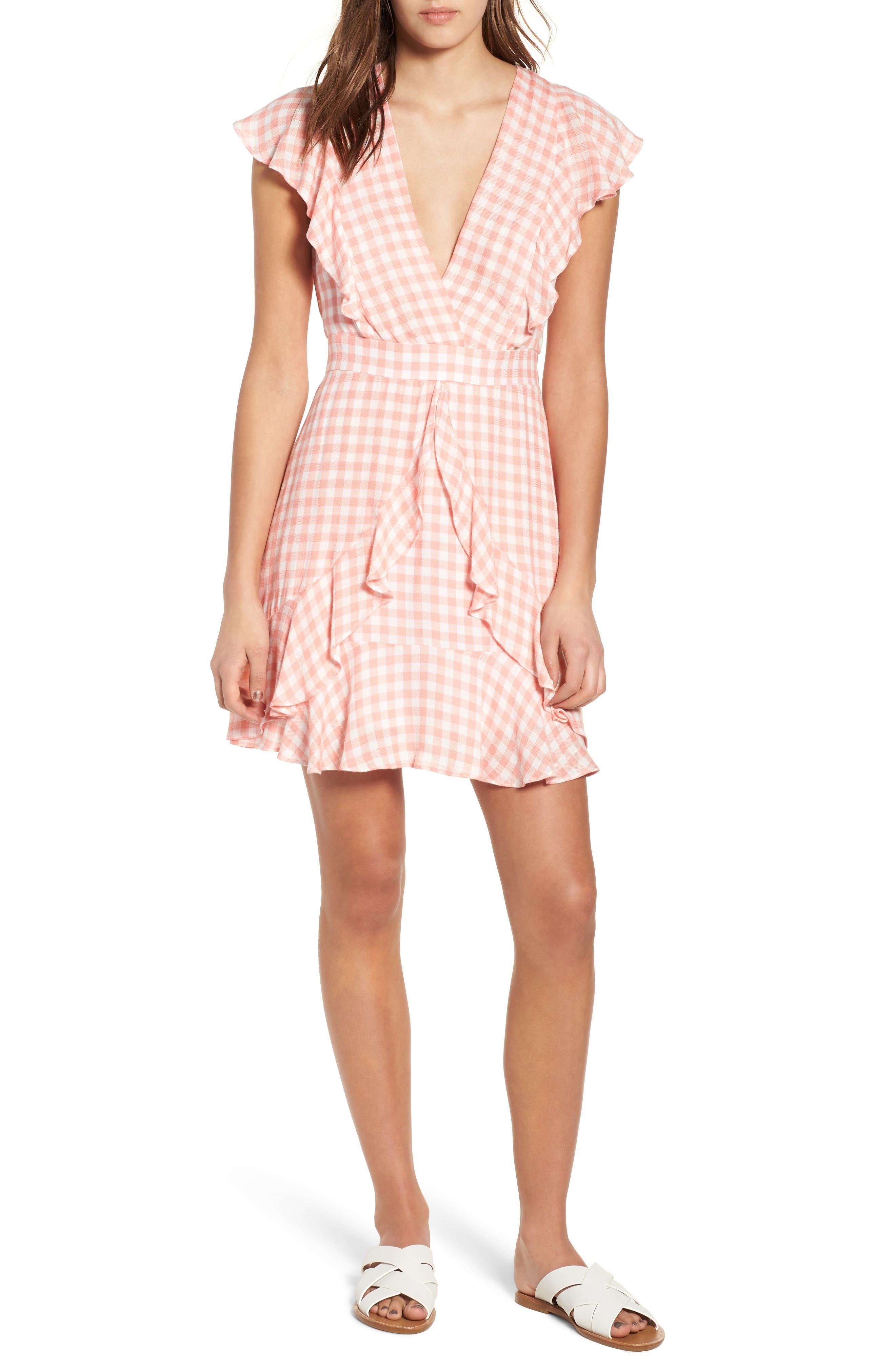 Brunch Ruffle Gingham Dress,                             Alternate thumbnail 6, color,                             693