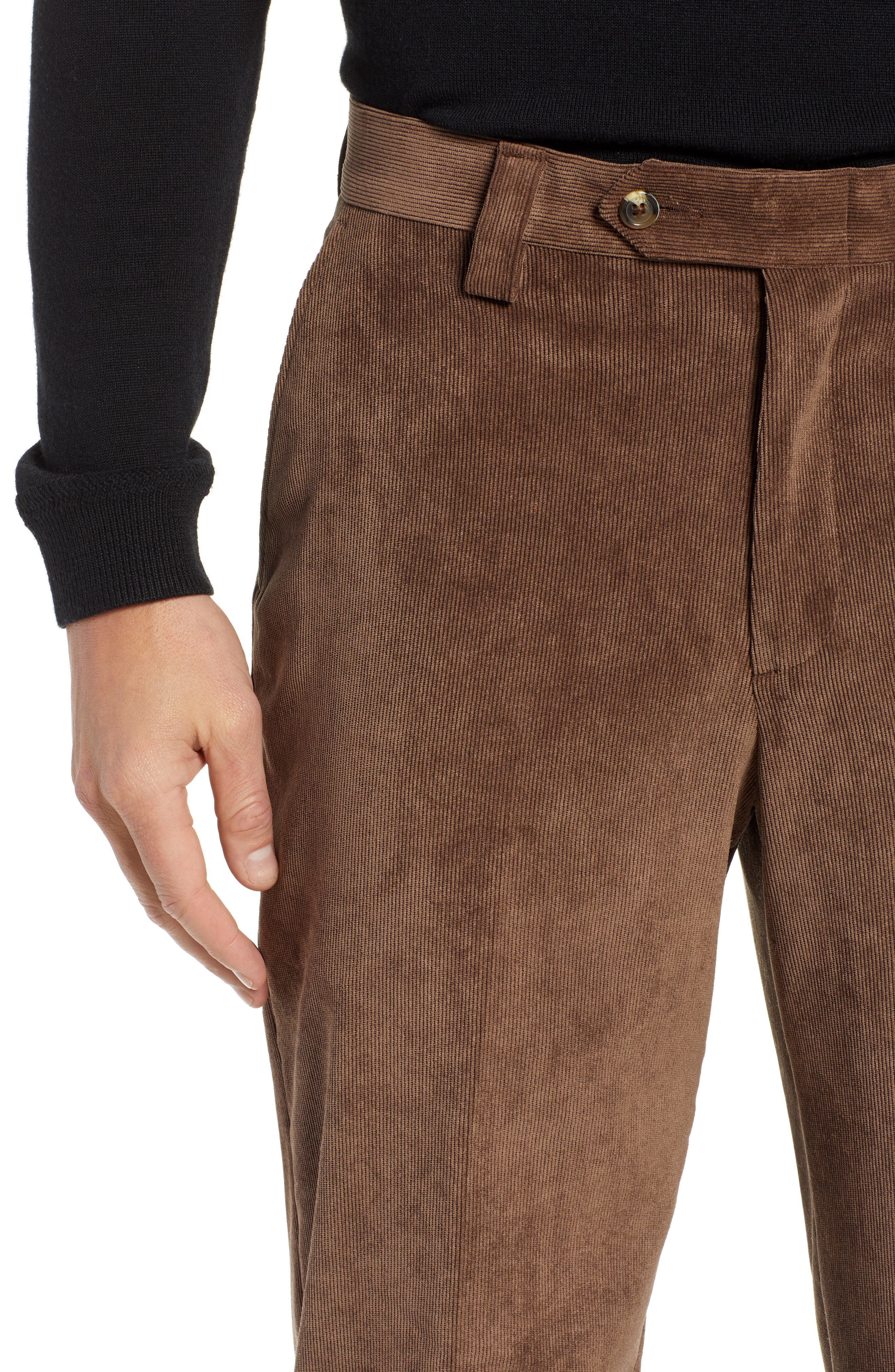 BERLE,                             Classic Fit Flat Front Corduroy Trousers,                             Alternate thumbnail 4, color,                             200