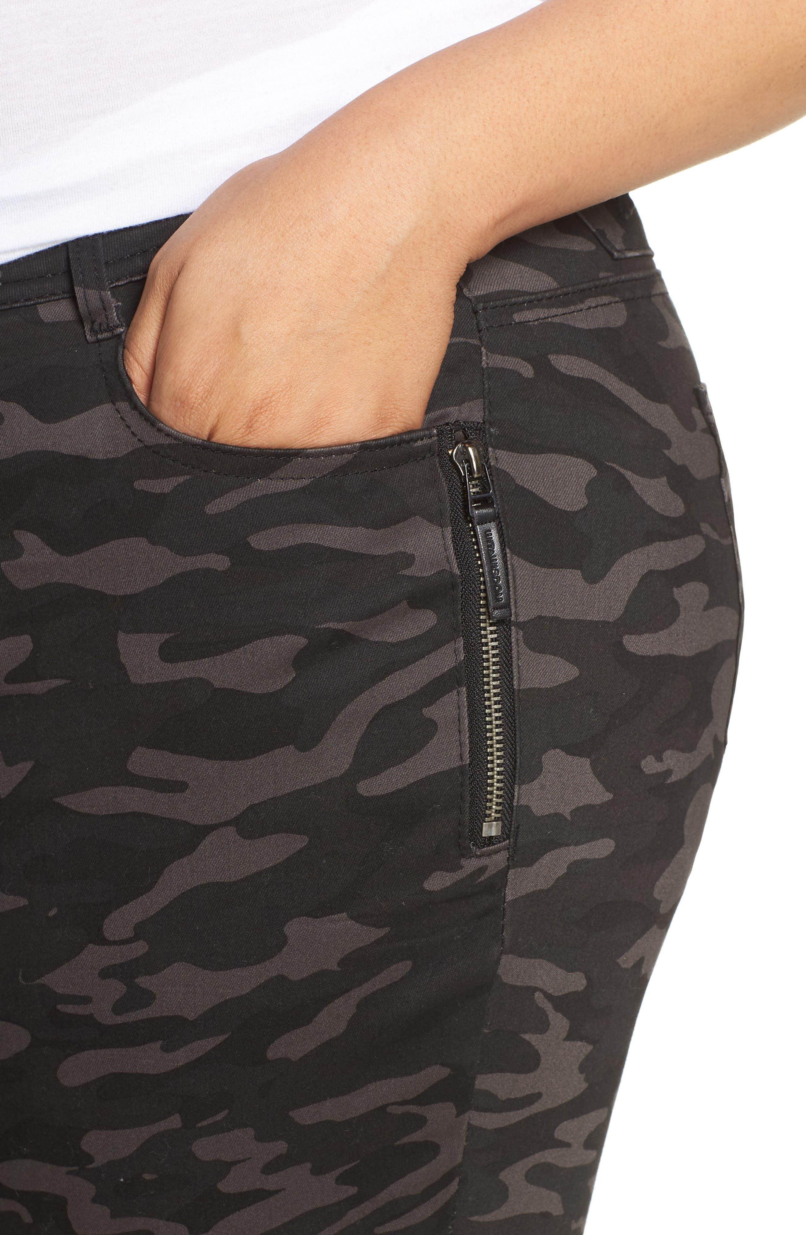 Ab-Solution Camo Ankle Pants,                             Alternate thumbnail 4, color,                             BLACK