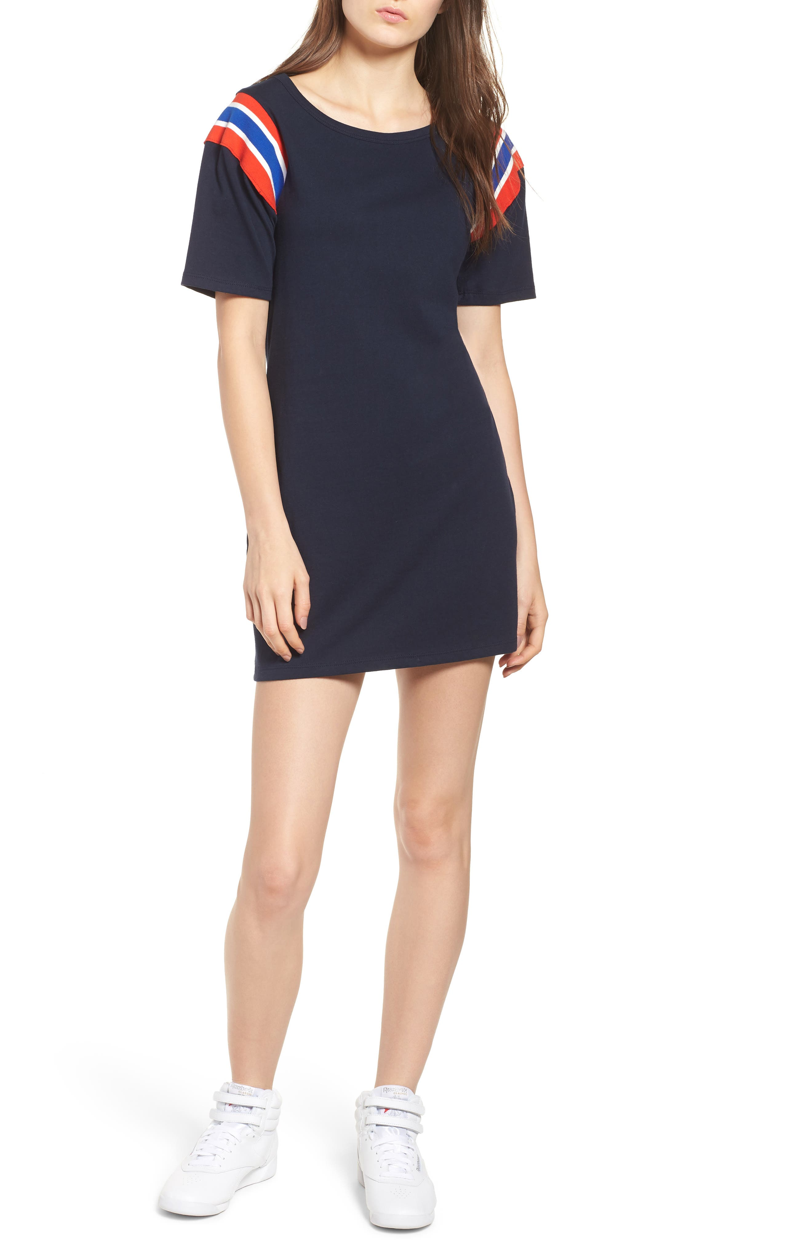 Sport Stripe Inset Dress,                         Main,                         color, NAVY