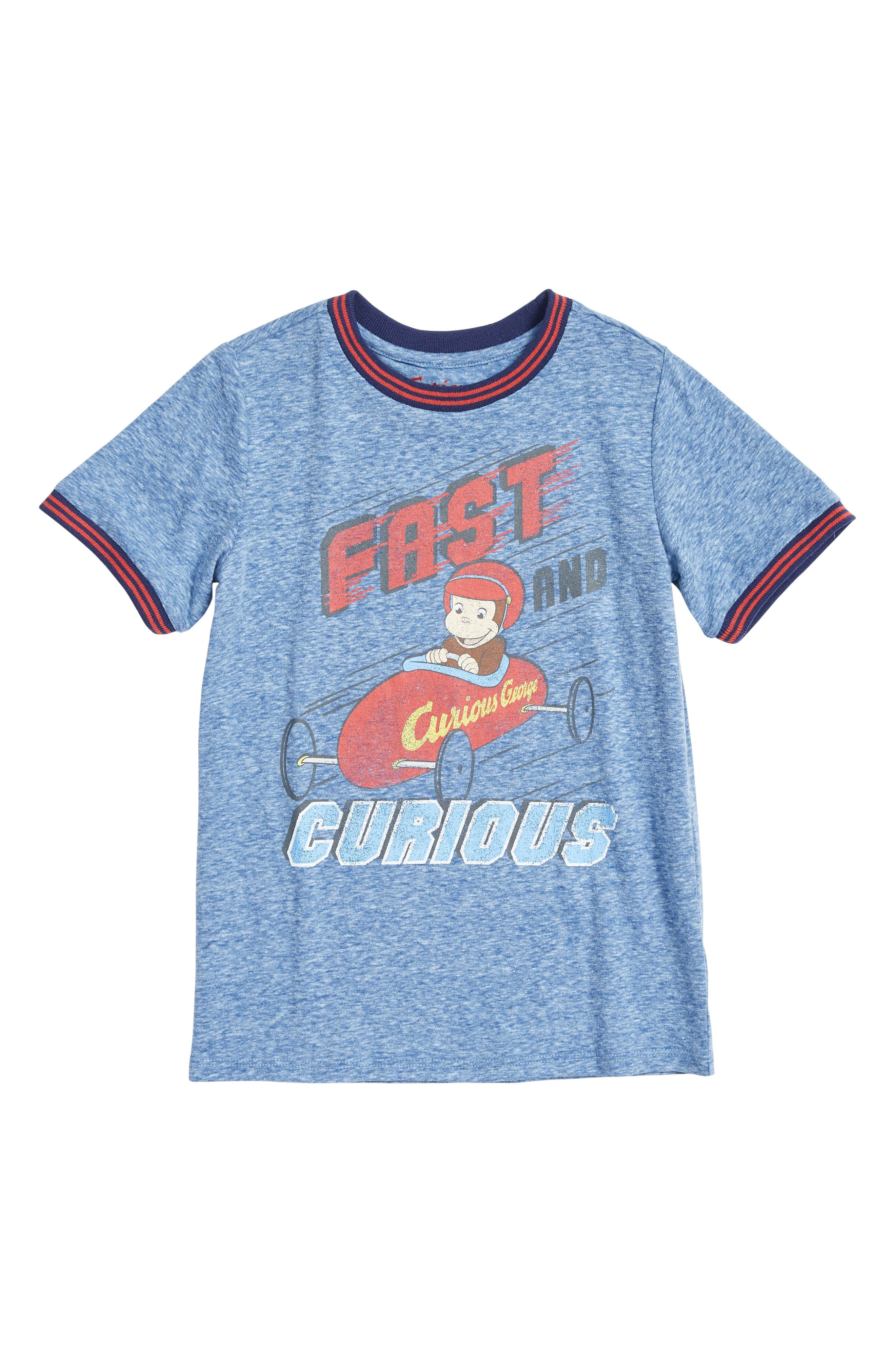 Fast & Curious George Graphic T-Shirt,                             Main thumbnail 1, color,                             450
