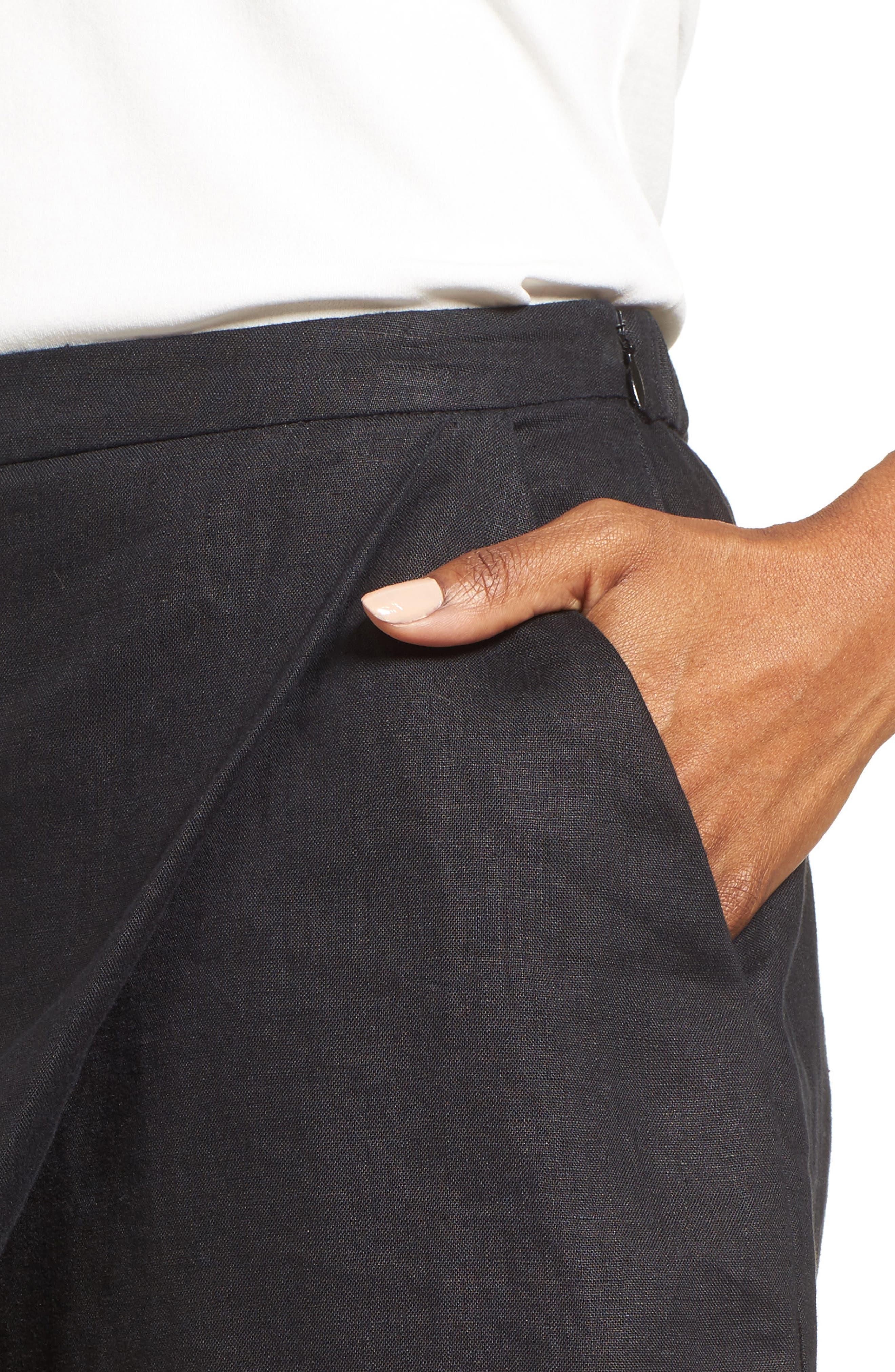 Organic Linen Sarong Shorts,                             Alternate thumbnail 4, color,                             001
