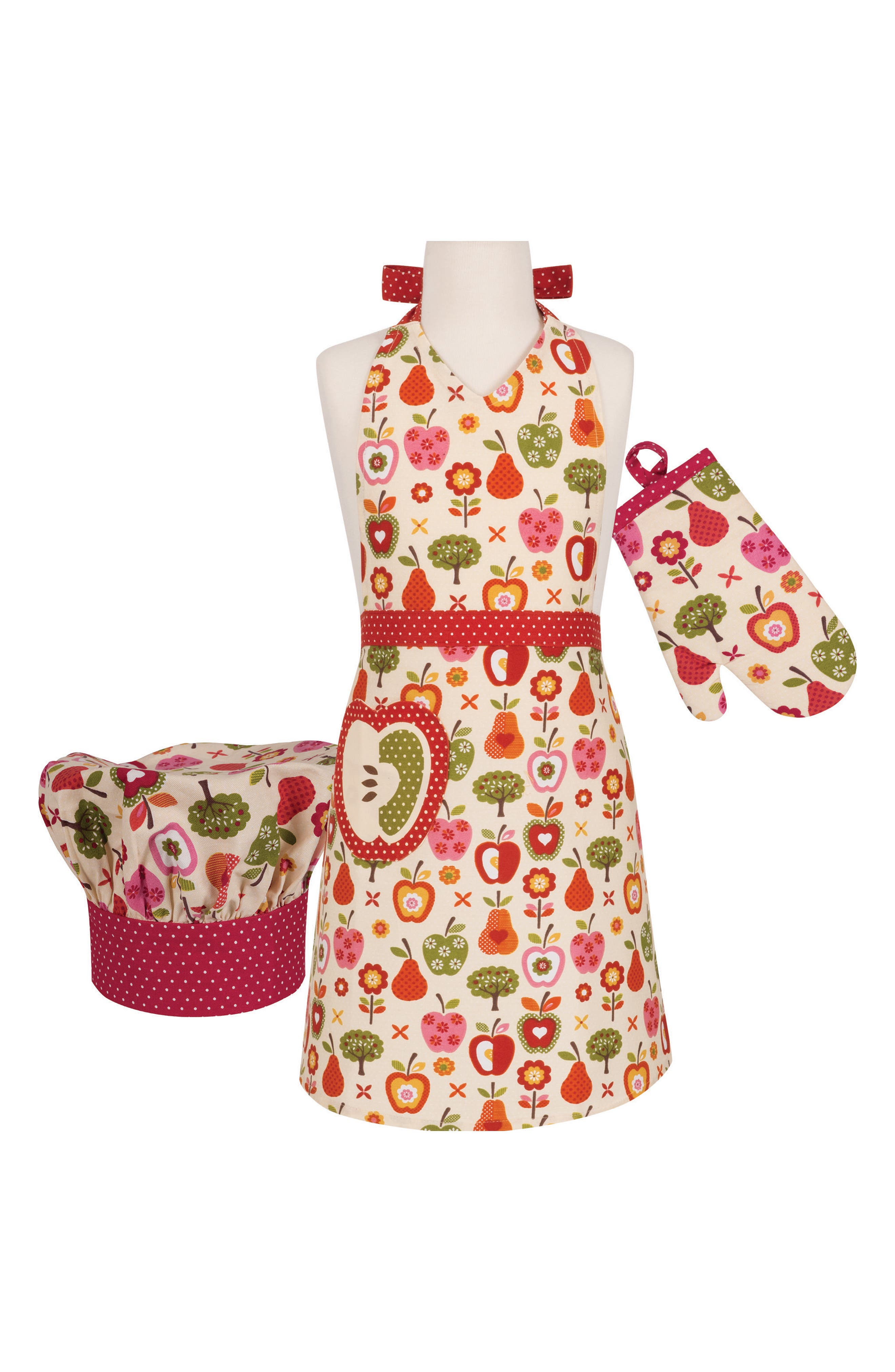 Apple a Day Apron, Chef's Hat & Oven Mitt Set,                         Main,                         color, MULTI