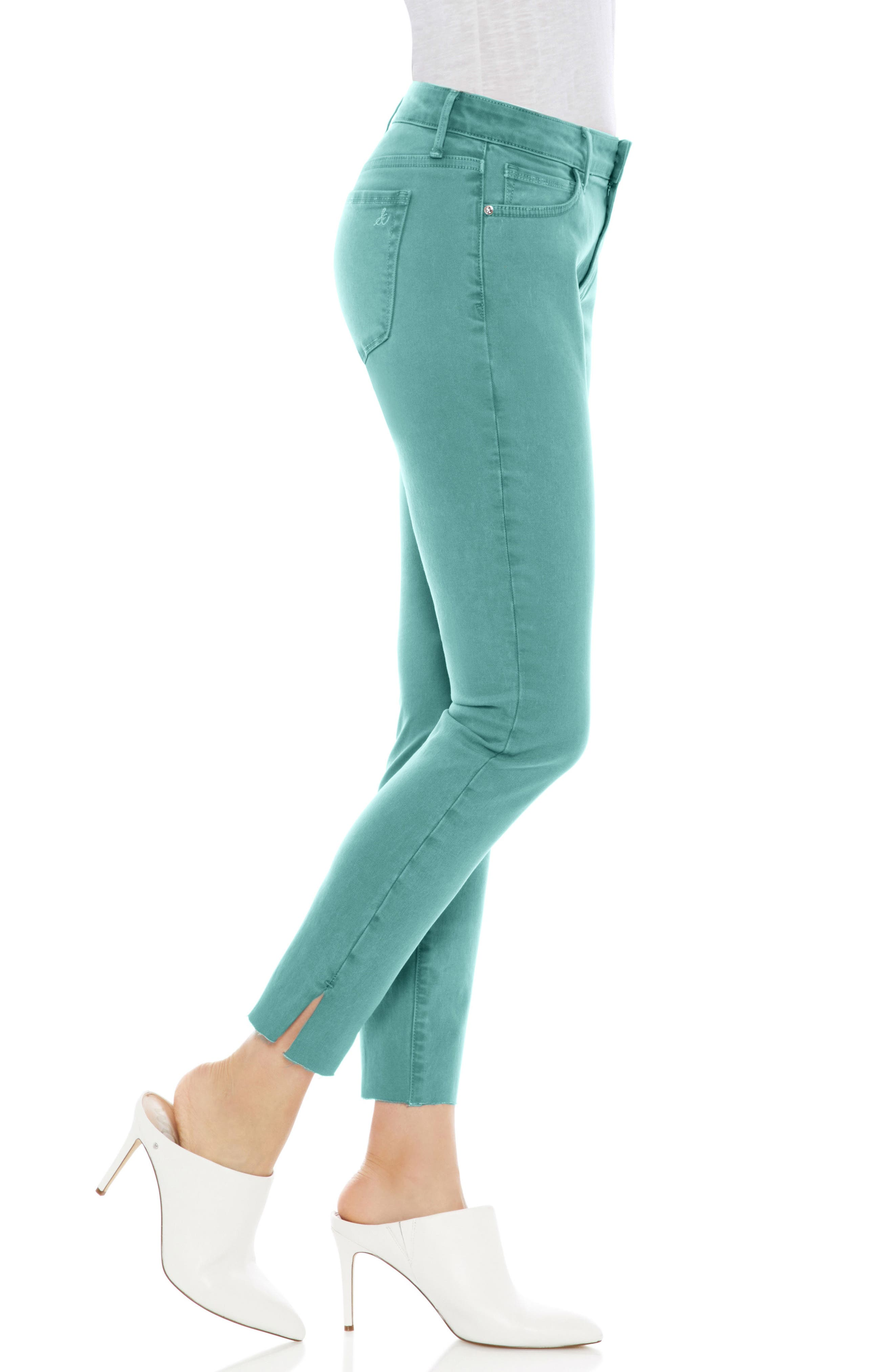 The Kitten Raw Hem Skinny Jeans,                             Alternate thumbnail 3, color,                             TEAL