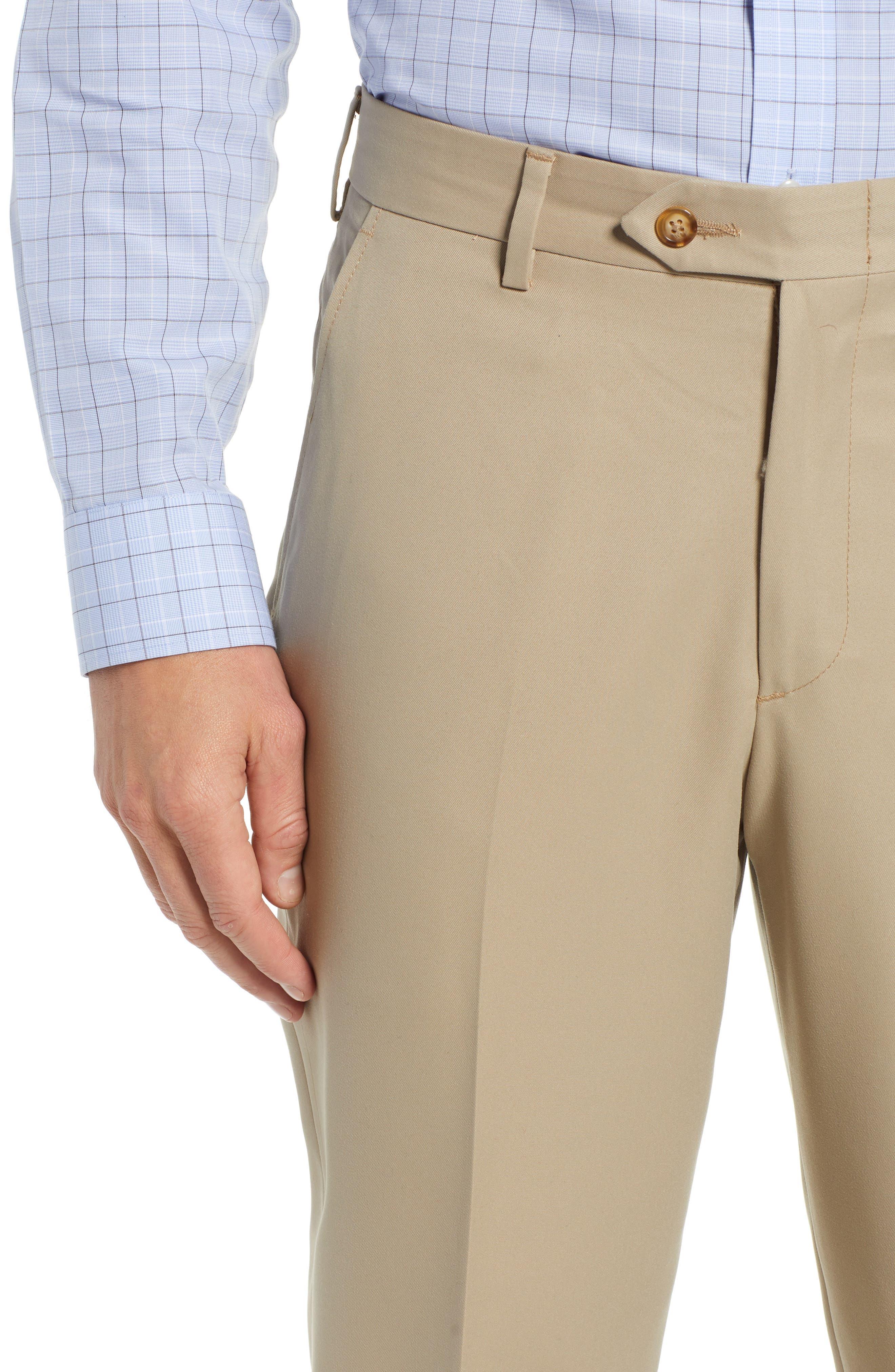 Classic Fit Flat Front Microfiber Performance Trousers,                             Alternate thumbnail 4, color,                             TAN