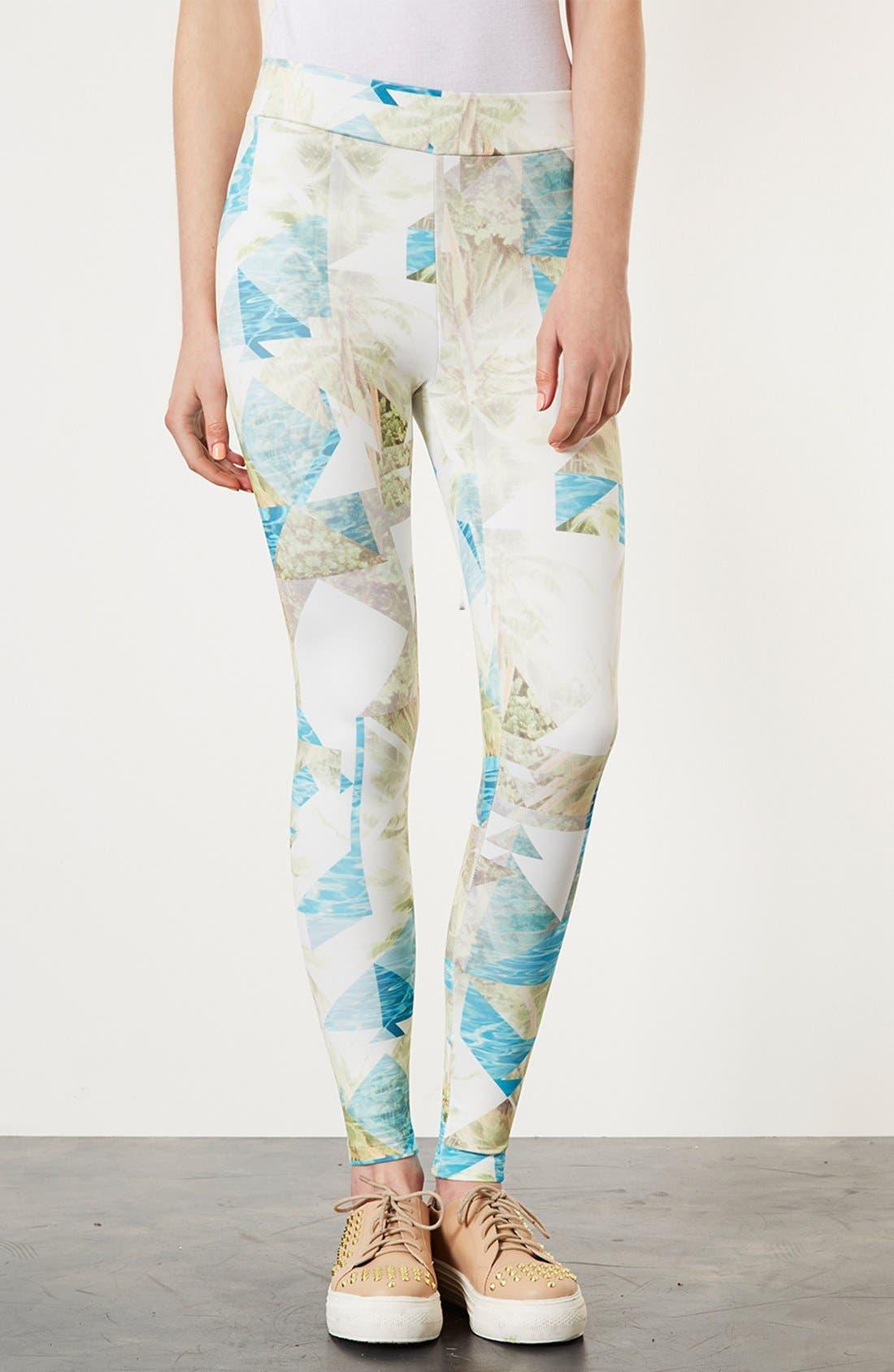 TOPSHOP Palm Print Leggings, Main, color, 900