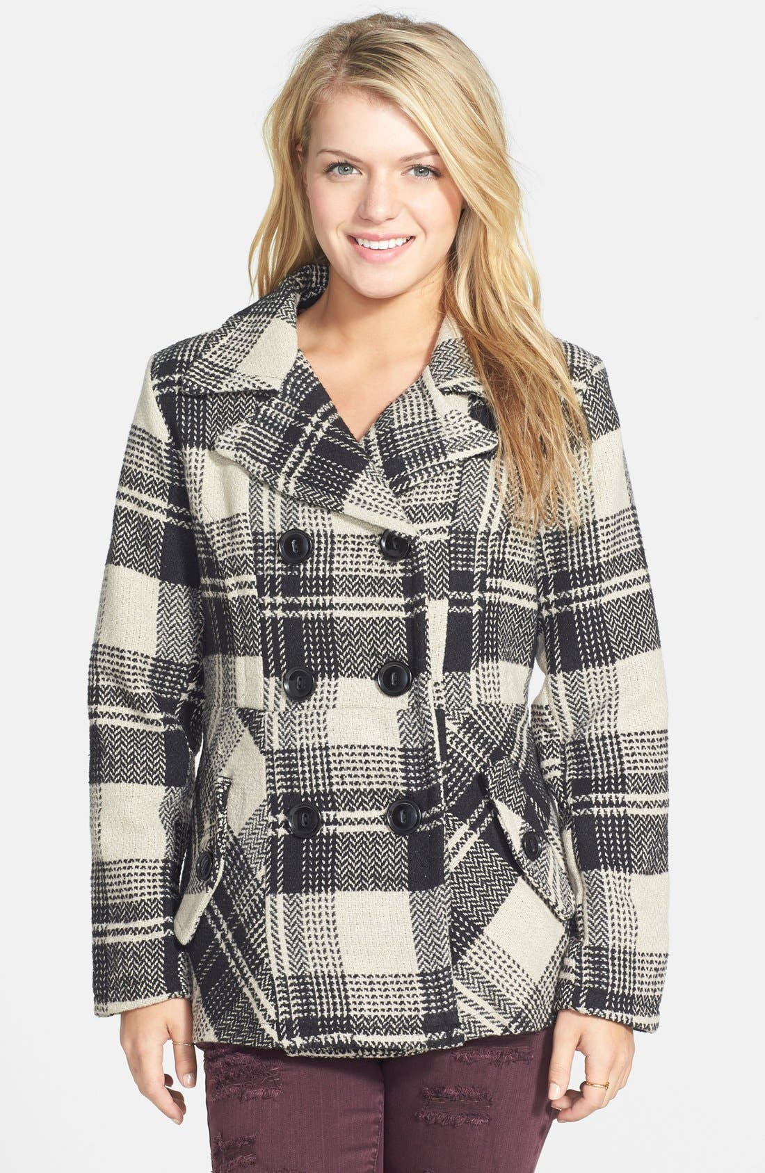 Plaid Double Breasted Peacoat, Main, color, 250