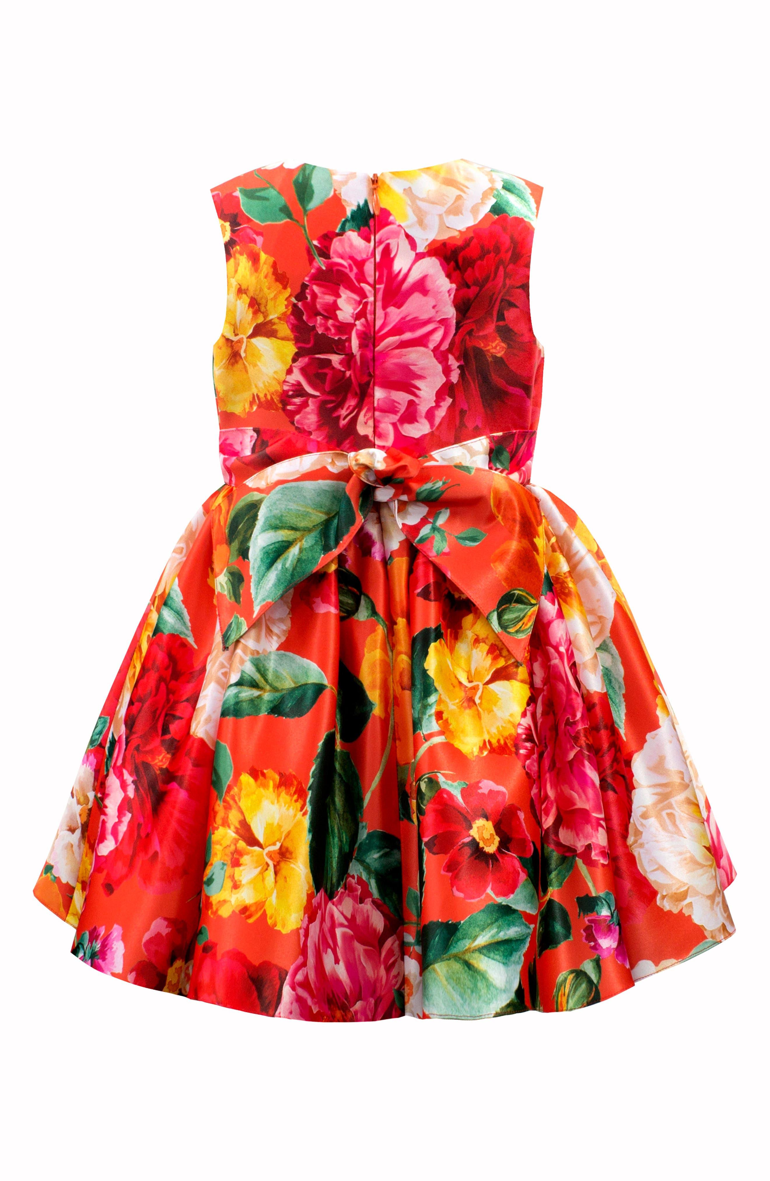 DAVID CHARLES,                             Floral Print Frilled Satin Party Dress,                             Alternate thumbnail 2, color,                             ORANGE