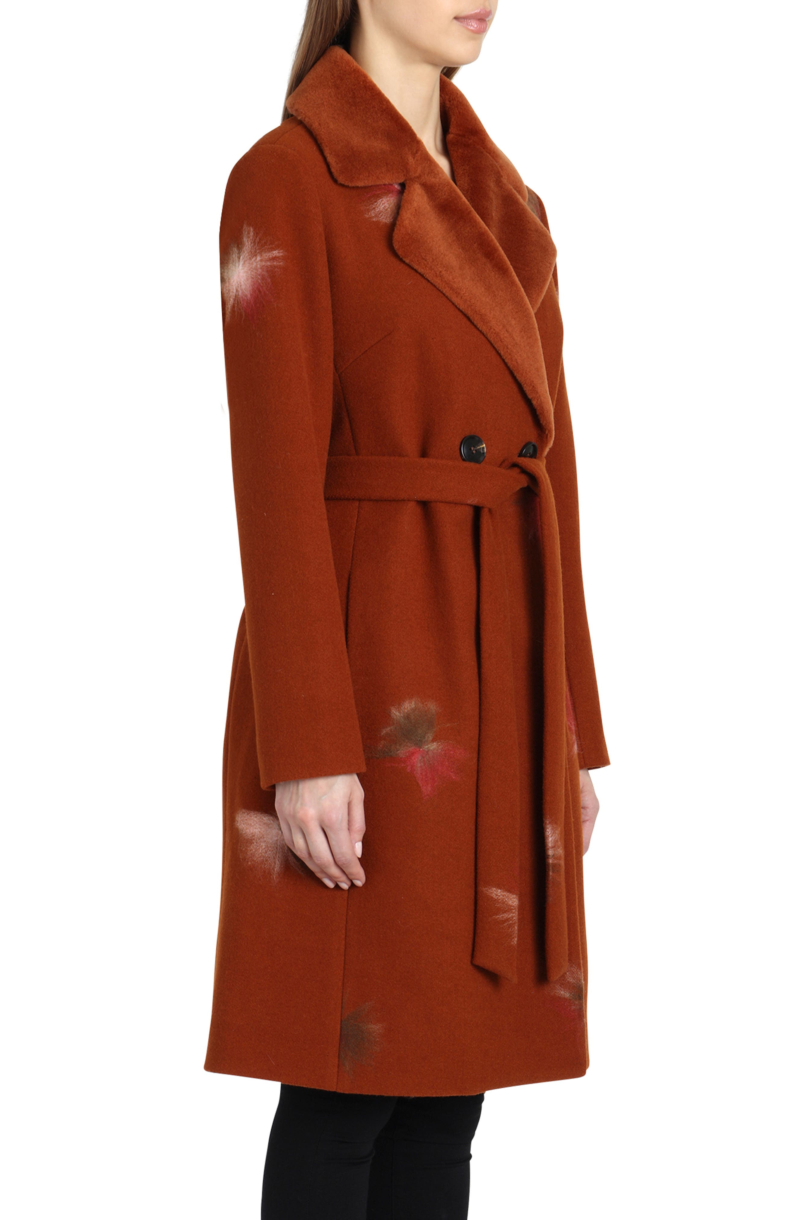BADGLEY MISCHKA COLLECTION,                             Badgley Mischka Felted Embroidery Wool Blend Coat,                             Alternate thumbnail 3, color,                             801