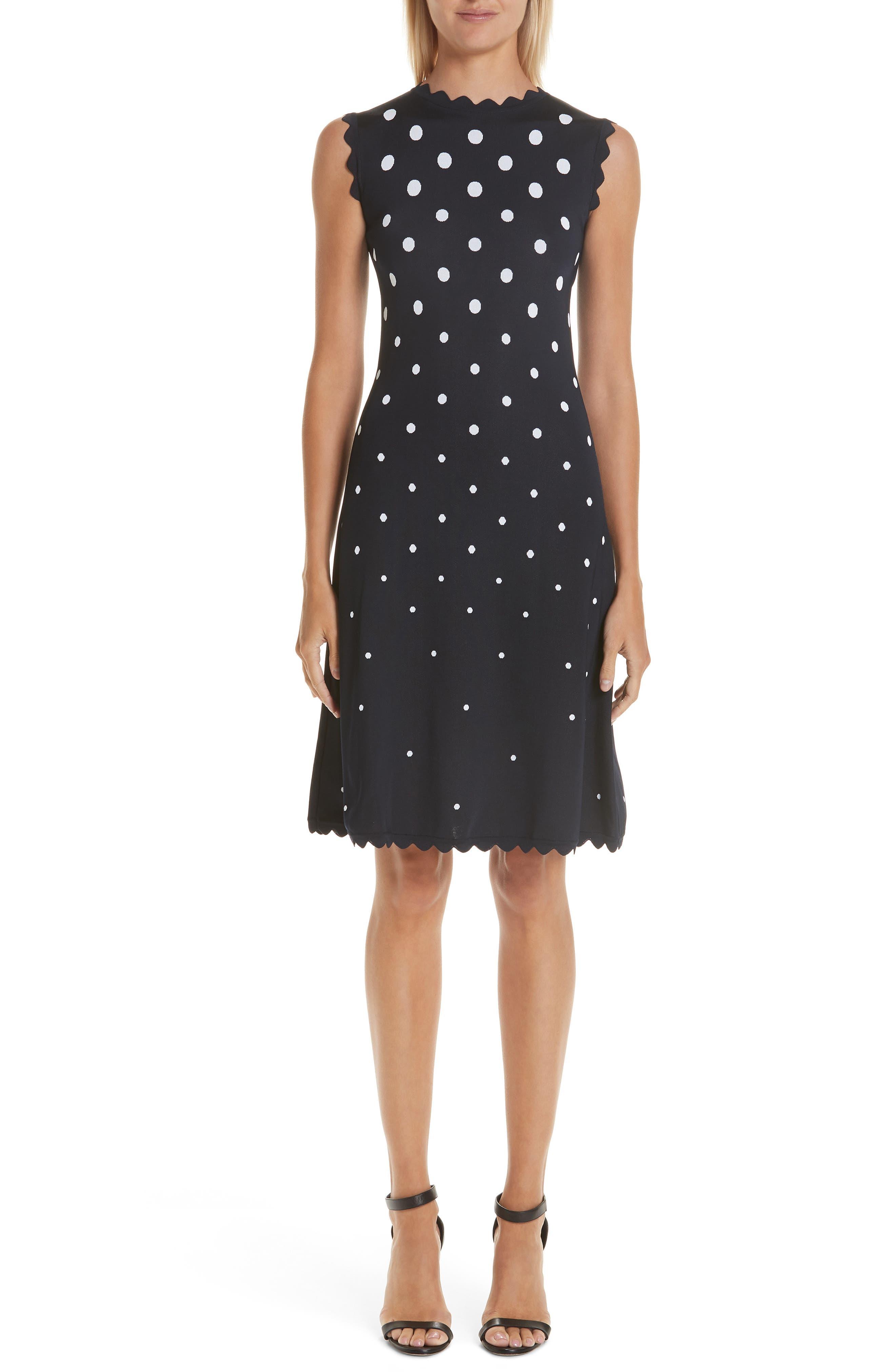 Scallop Edge Polka Dot A-Line Dress,                             Main thumbnail 1, color,                             NVW-NAVY/ WHITE