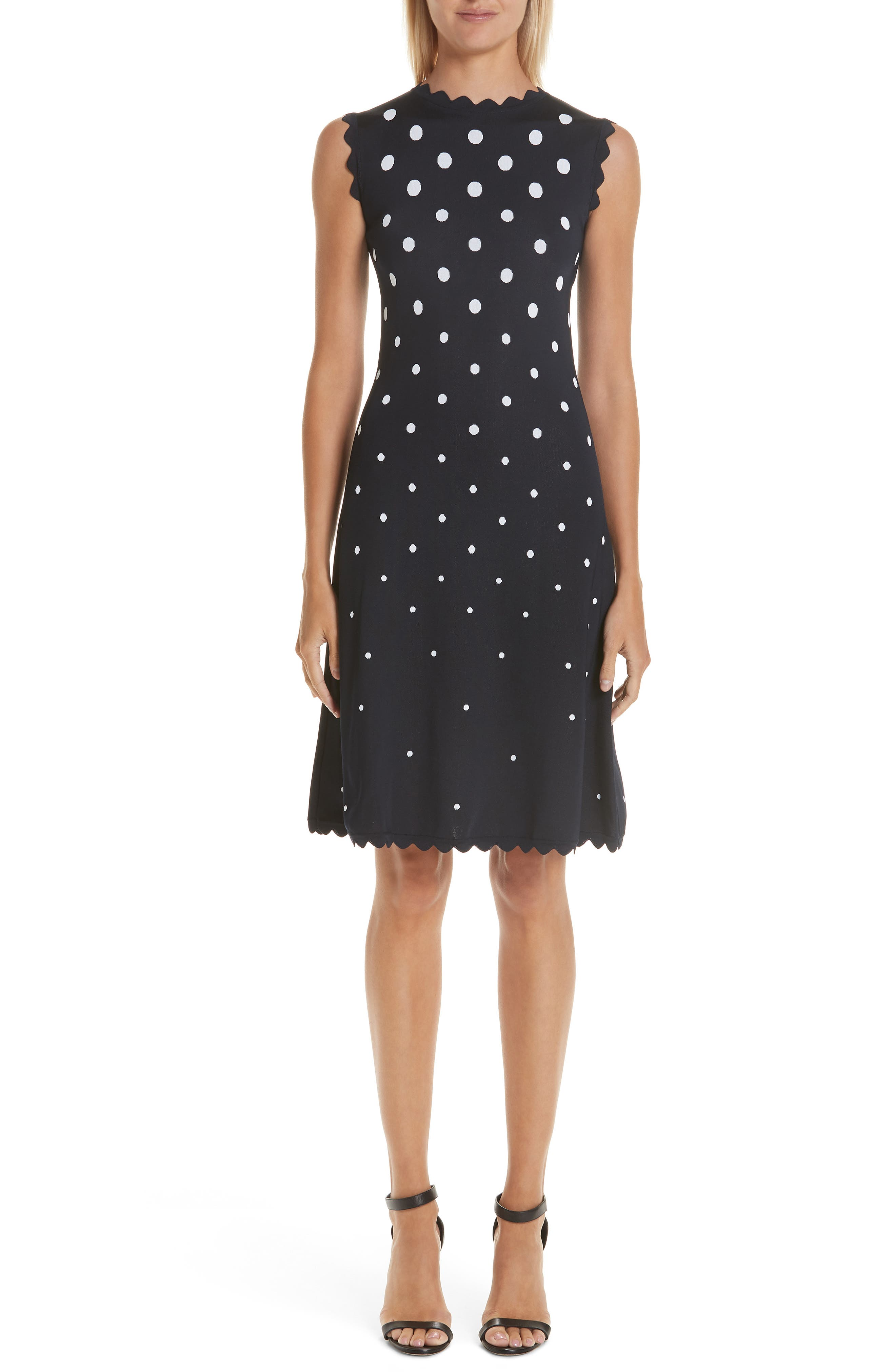 High-Neck Sleeveless Scalloped Fit-And-Flare Polka-Dot Dress in Nvw-Navy/ White