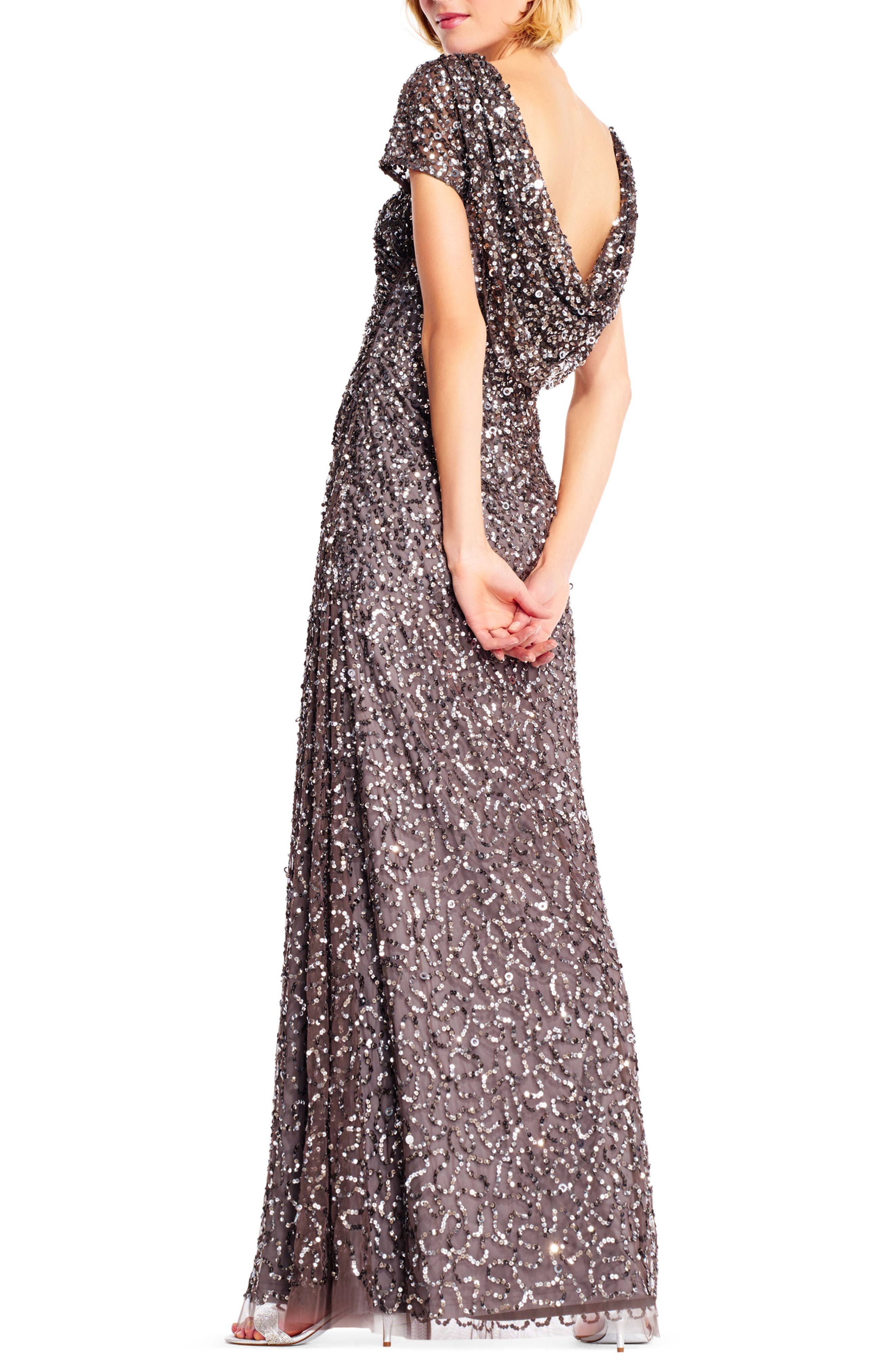 Sequin Cowl Back Gown,                             Alternate thumbnail 9, color,