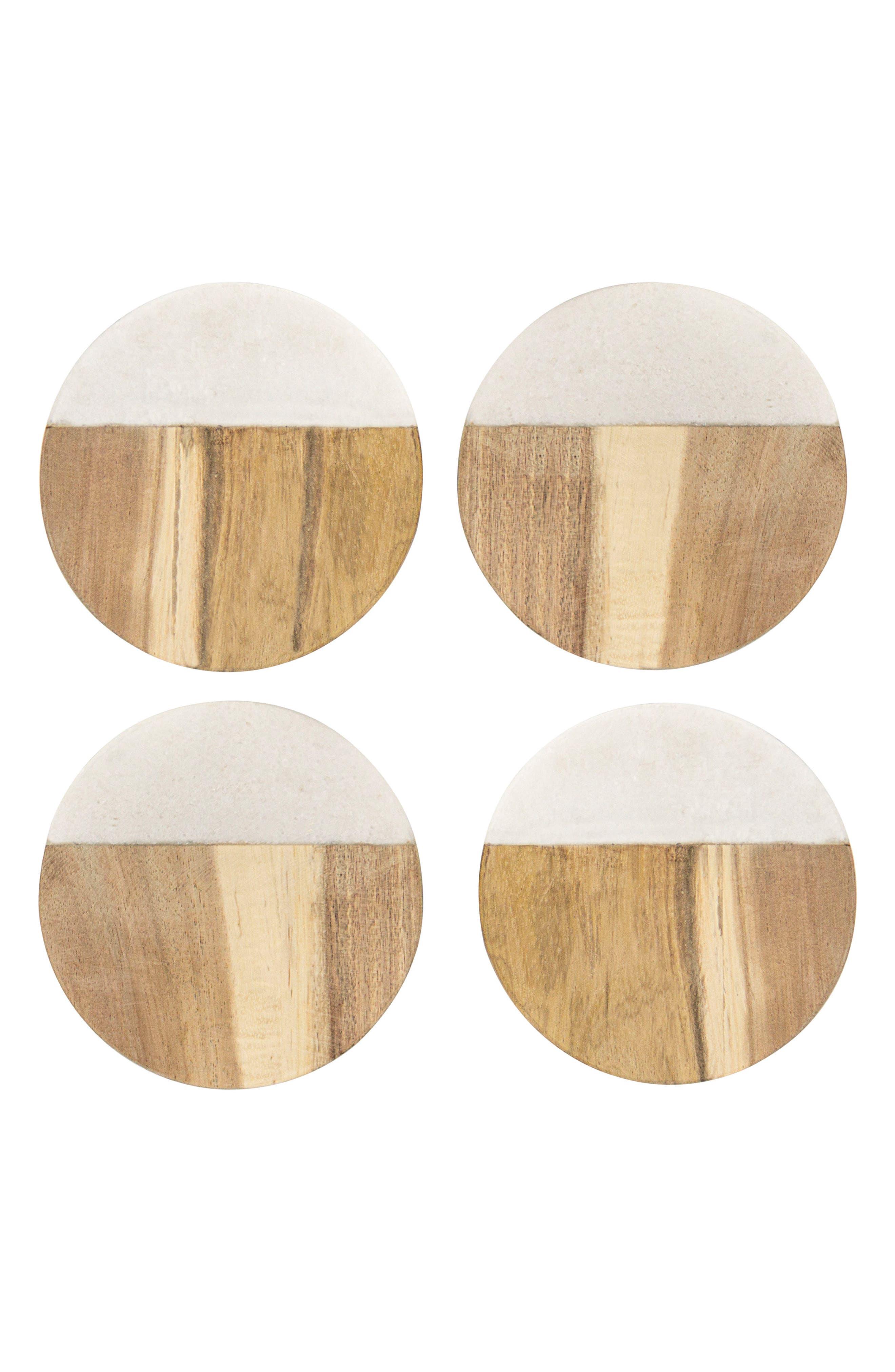 Monogram Set of 4 Marble & Acacia Wood Coasters,                         Main,                         color, BROWN
