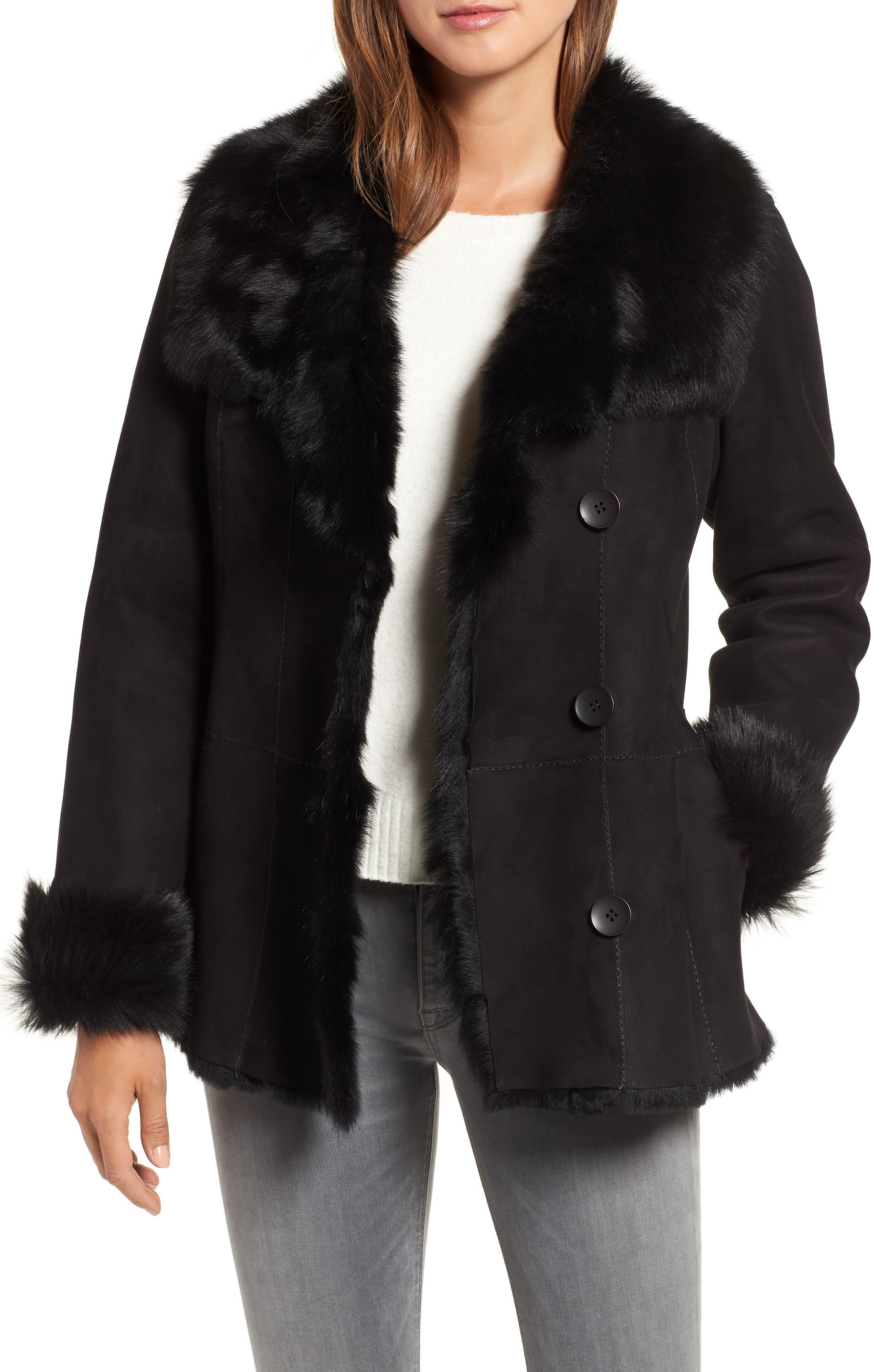 Hiso Reversible Genuine Toscana Shearling Jacket, Black